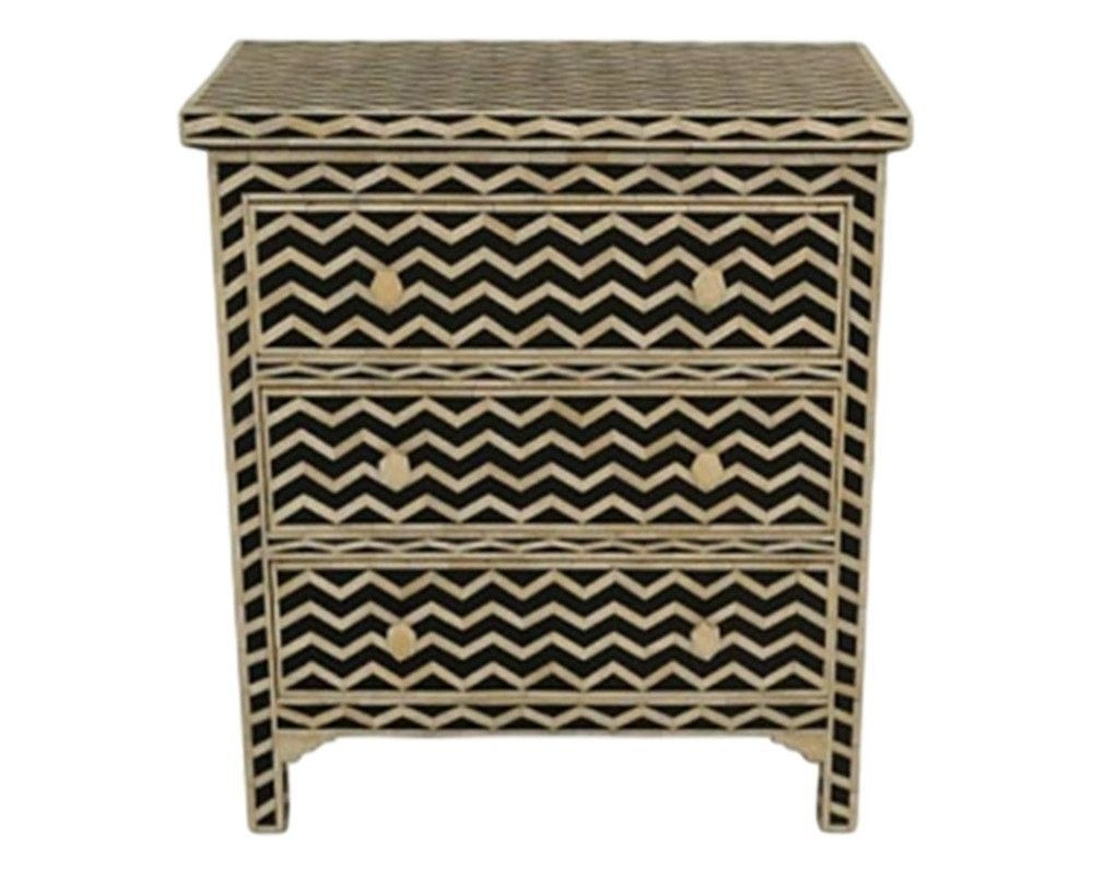 Bone Inlay Furniture - Striped Chevron Modern Three 3 Drawer Dresser regarding Geo Pattern Black And White Bone Inlay Sideboards (Image 9 of 30)