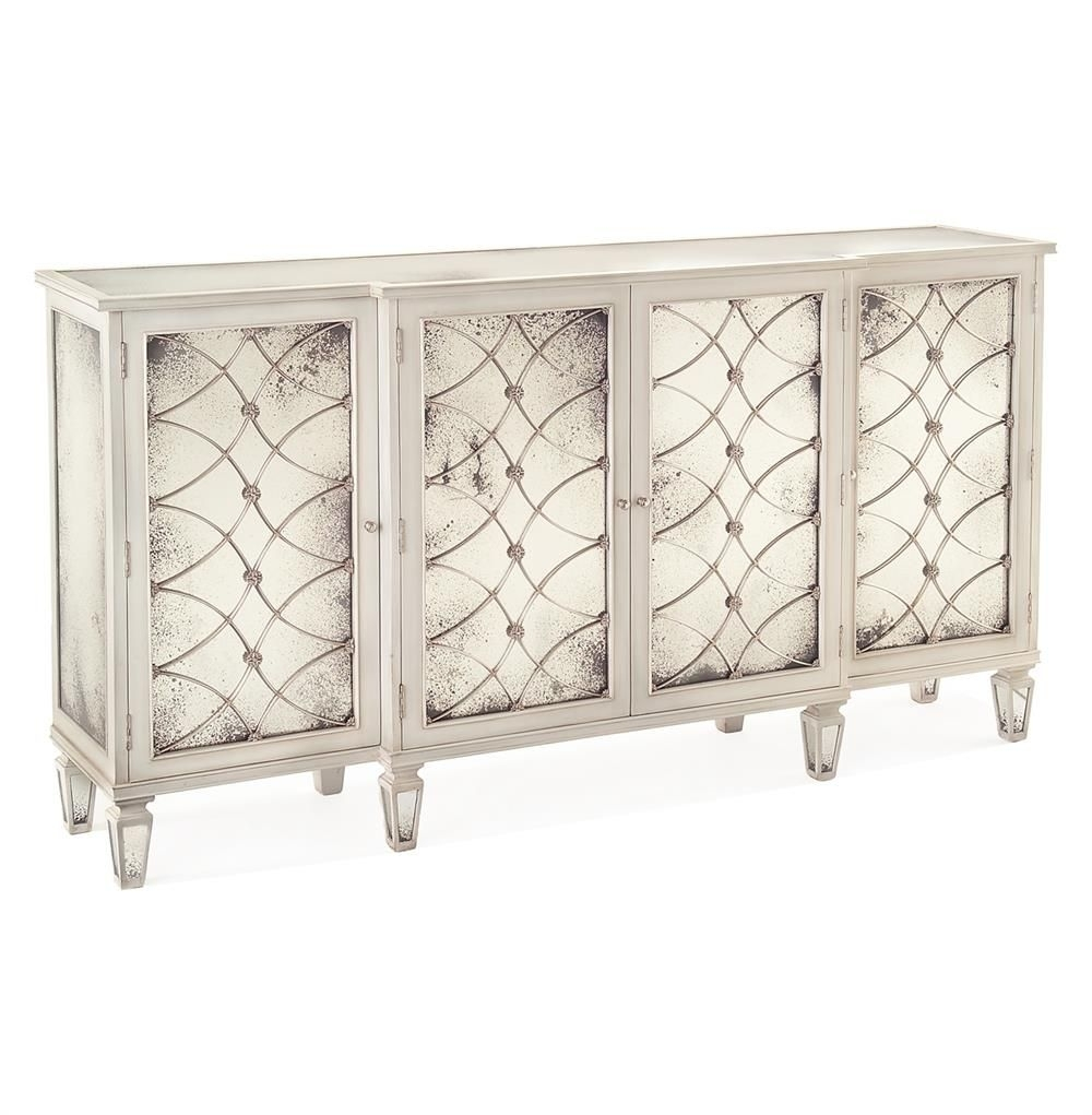 Bonet Hollywood Regency Grillwork Antique White Mirrored Sideboard intended for Aged Mirrored 4 Door Sideboards (Image 10 of 30)