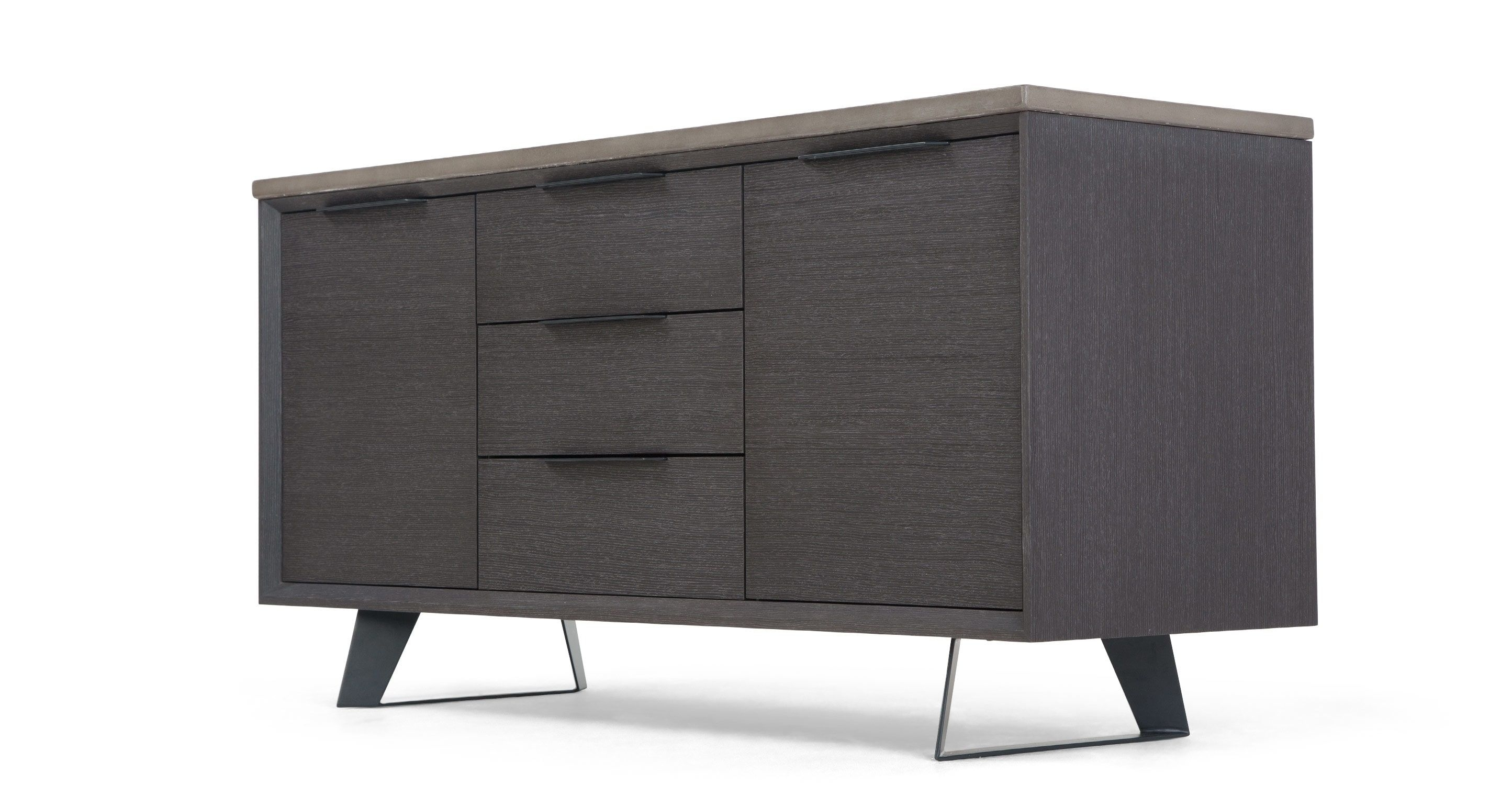 Boone Sideboard, Concrete Resin Top From Made. Grey/black pertaining to Oil Pale Finish 3-Door Sideboards (Image 10 of 30)