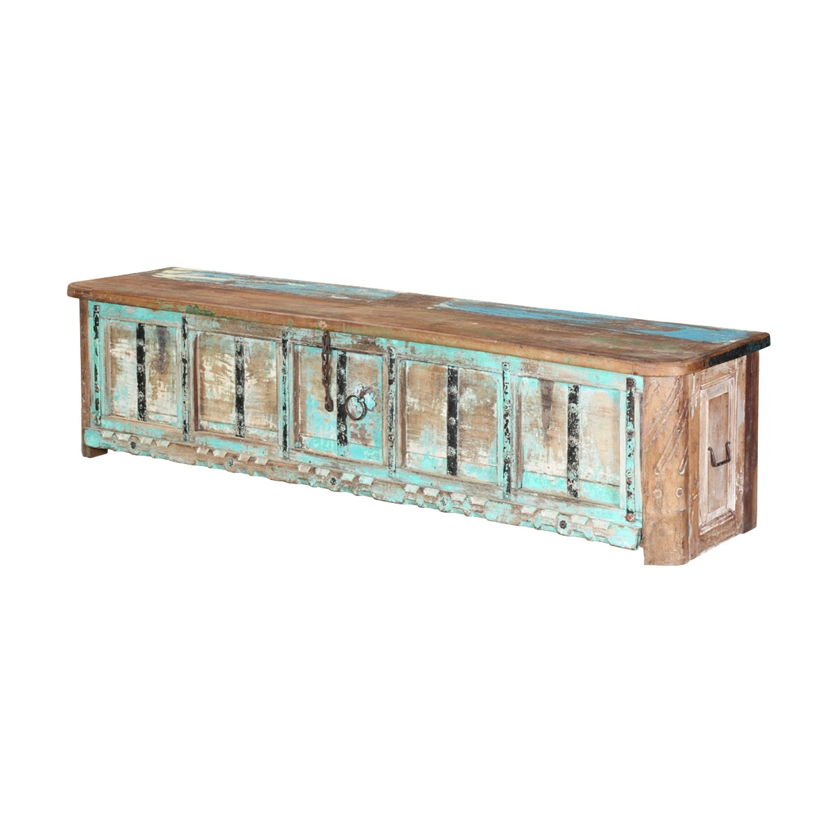 Boyce Rustic Turquoise Reclaimed Wood Large Storage Coffee Table Chest intended for Boyce Sideboards (Image 4 of 30)