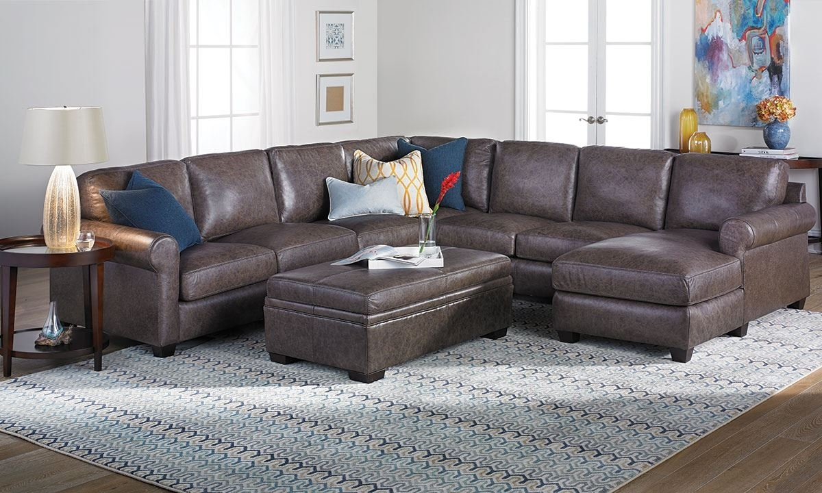 Bradley Top-Grain Leather & Feather Sectional Sofa | The Dump Luxe in Norfolk Grey 6 Piece Sectionals (Image 6 of 30)