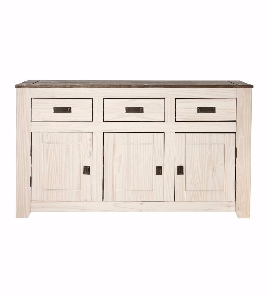 Brand New Ultimo Large 3 Door 3 Drawer Sideboard Solid Pine Two Tone inside Reclaimed 3 Drawer Icebox Sideboards (Image 2 of 30)