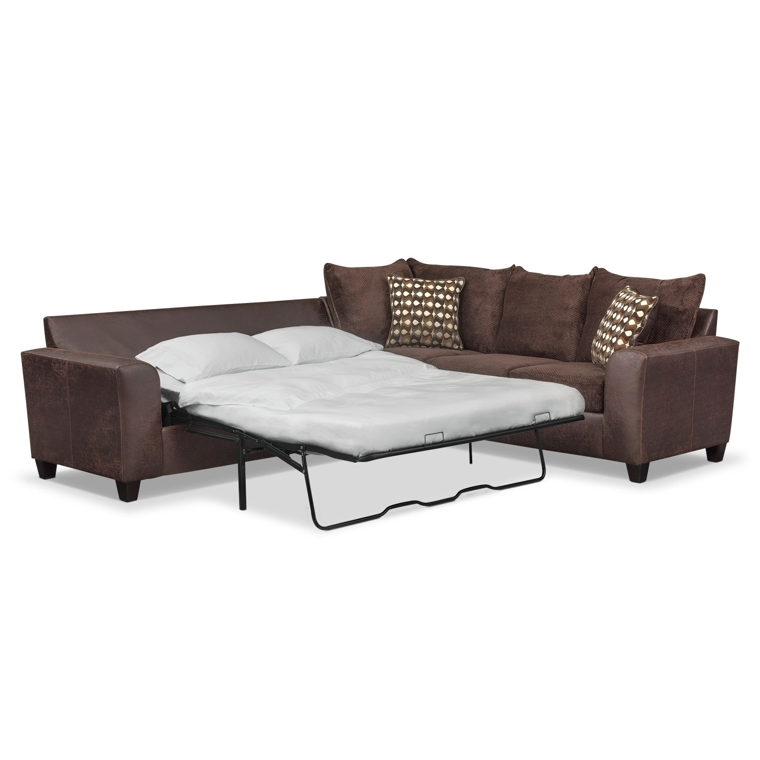Brando 2-Piece Innerspring Sleeper Sectional - Chocolate | American intended for Aurora 2 Piece Sectionals (Image 11 of 30)