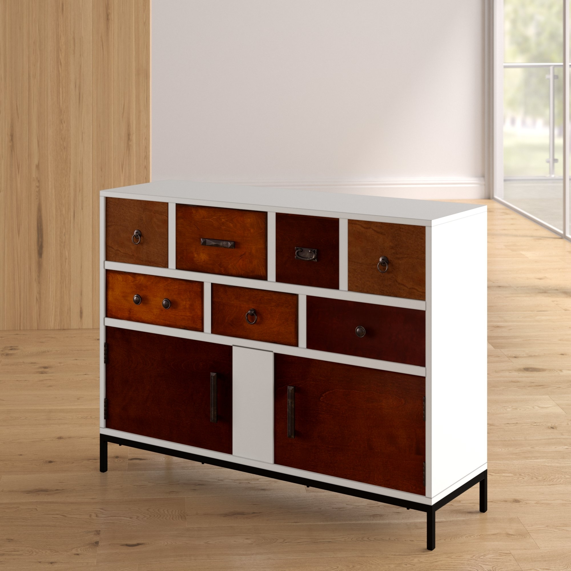 Brayden Studio Galgano 2 Door Accent Cabinet & Reviews | Wayfair within Oil Pale Finish 4-Door Sideboards (Image 9 of 30)