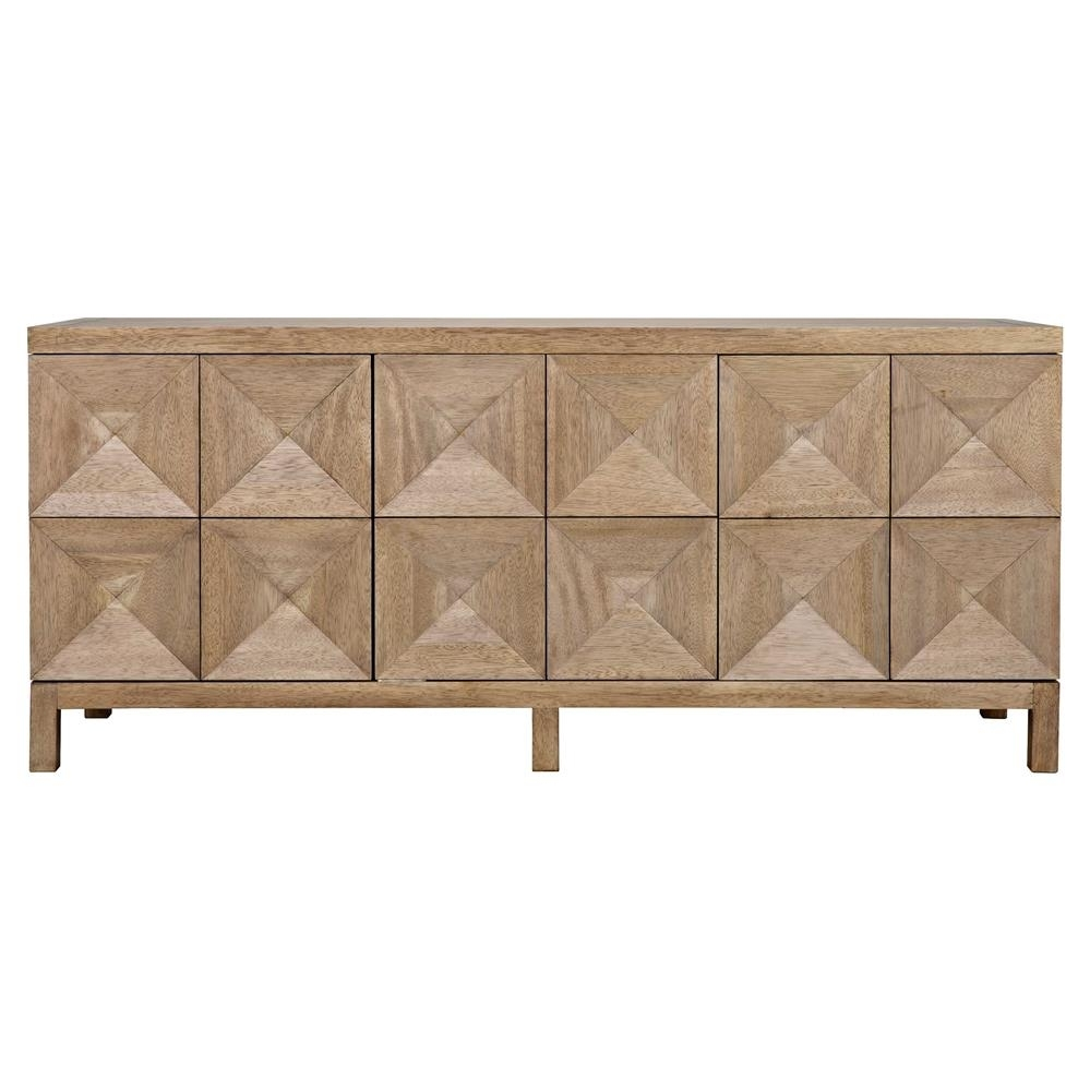 Brenton Modern Classic Washed Walnut Diamond 3 Door Sideboard with regard to Jaxon Sideboards (Image 3 of 30)