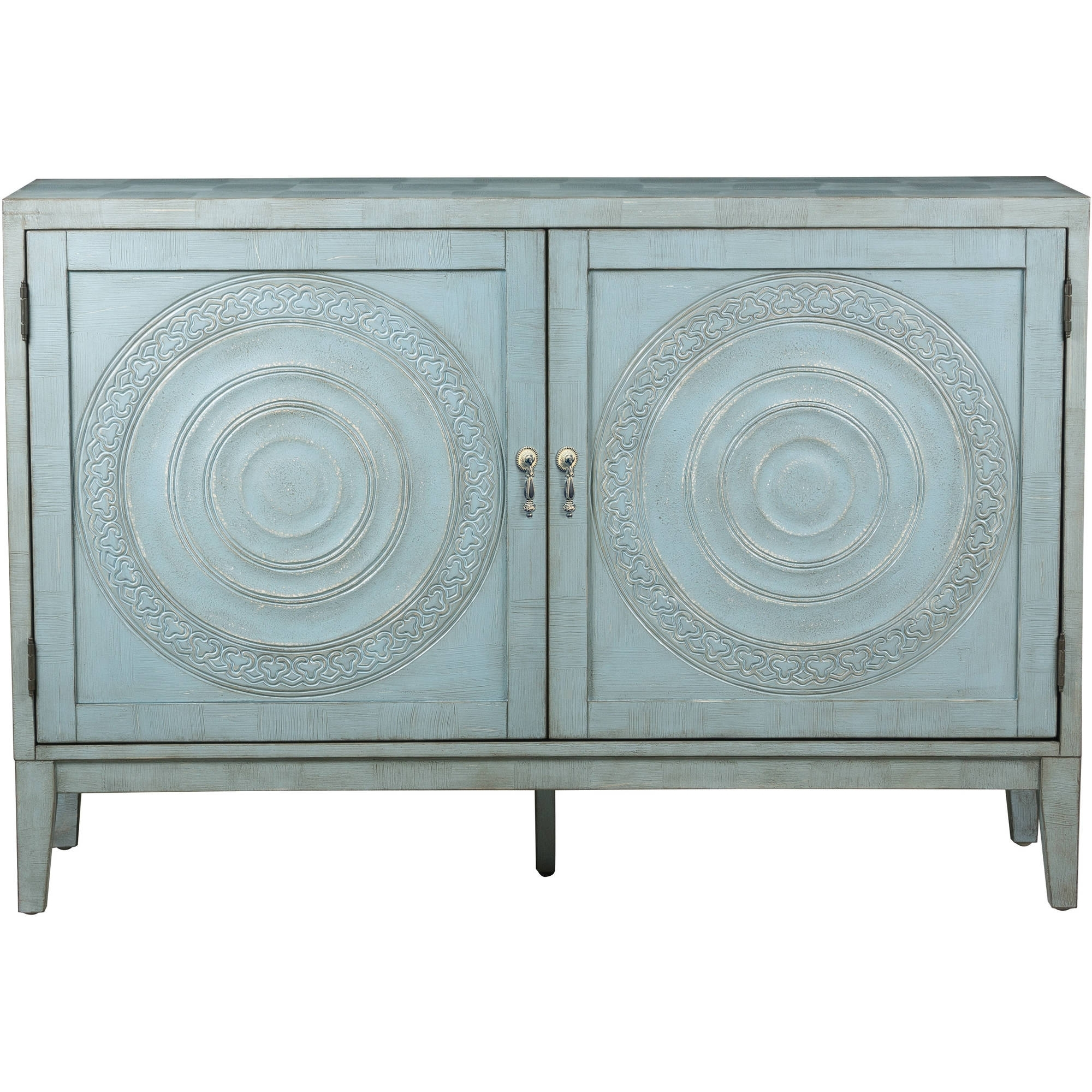 Briane Antique Blue Embossed Door Console - Walmart intended for Oil Pale Finish 4-Door Sideboards (Image 10 of 30)