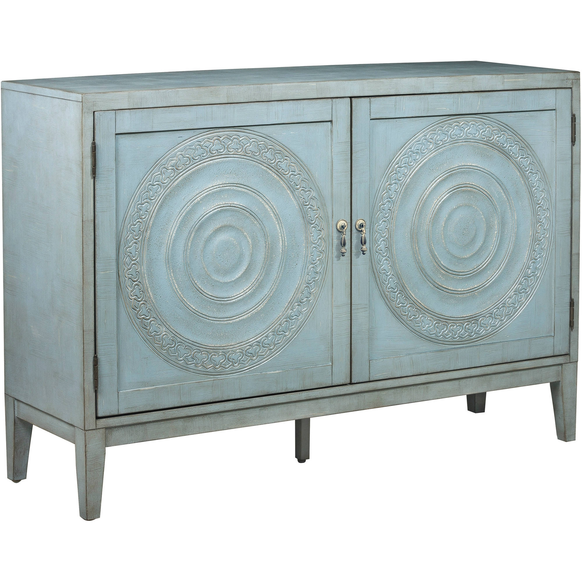 Briane Antique Blue Embossed Door Console - Walmart throughout Oil Pale Finish 3-Door Sideboards (Image 12 of 30)