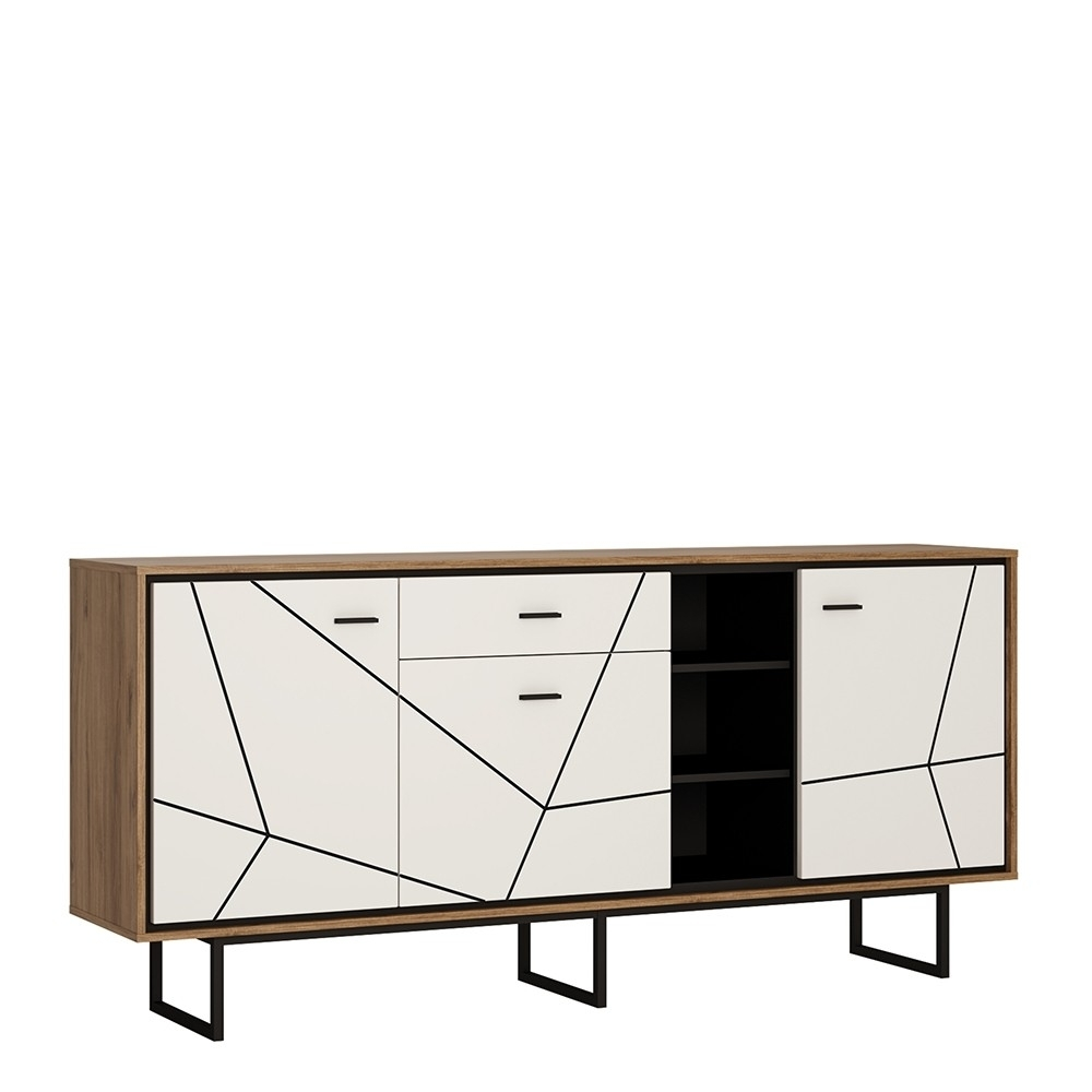 Brolo 3 Door 1 Drawer Wide Sideboard With The Walnut And Dark Panel throughout Walnut Finish 2-Door/3-Drawer Sideboards (Image 3 of 30)