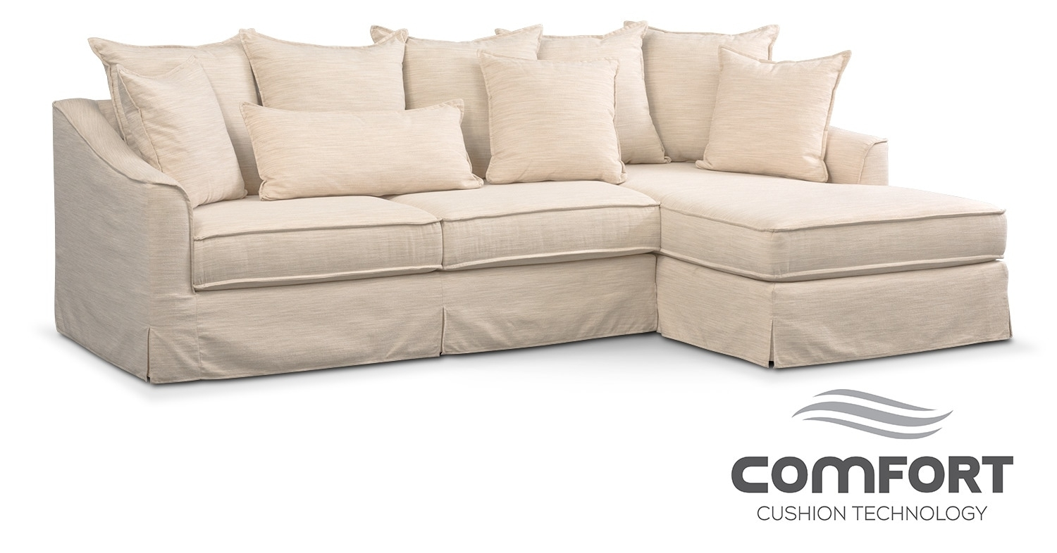 Brooke Comfort 2-Piece Sectional With Right-Facing Chaise - Ivory pertaining to Mesa Foam 2 Piece Sectionals (Image 5 of 30)