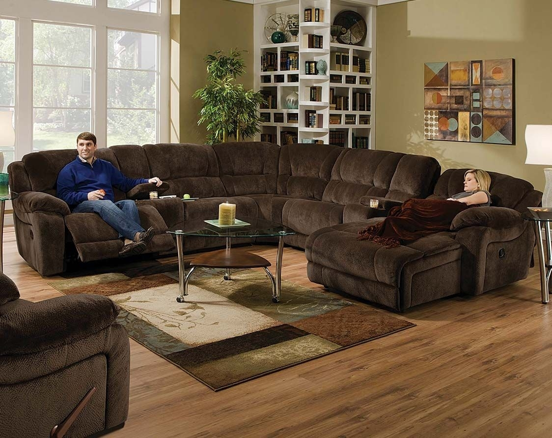 Brown Wrap-Around Couch | Championship Chocolate Reclining Sectional with Norfolk Chocolate 6 Piece Sectionals With Laf Chaise (Image 2 of 30)