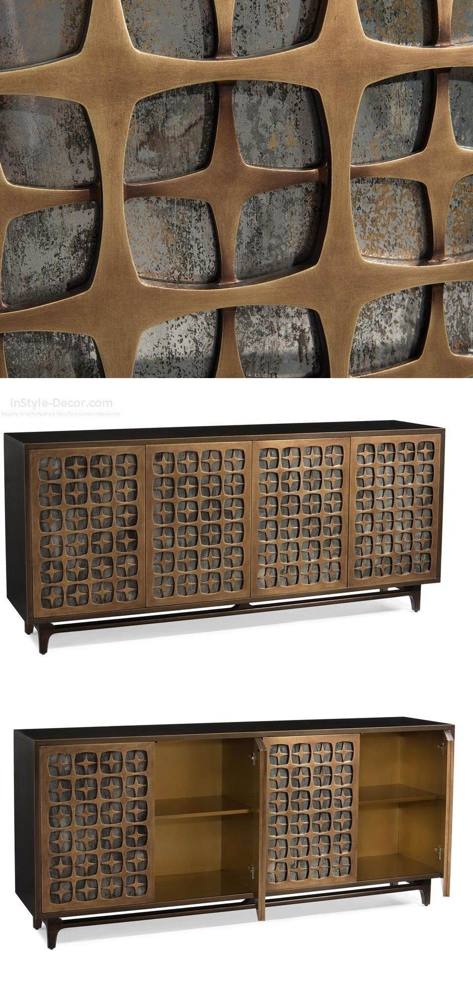"""Buffet"""" """"Sideboard"""" """"Credenza"""" Designswww.instyle-Decor throughout 4-Door/4-Drawer Cast Jali Sideboards (Image 2 of 30)"""