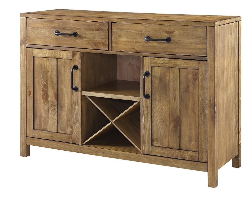 Buffet Table With Wine Rack Dining Room Storage Sideboard Cabinet in Natural Oak Wood 78 Inch Sideboards (Image 4 of 30)