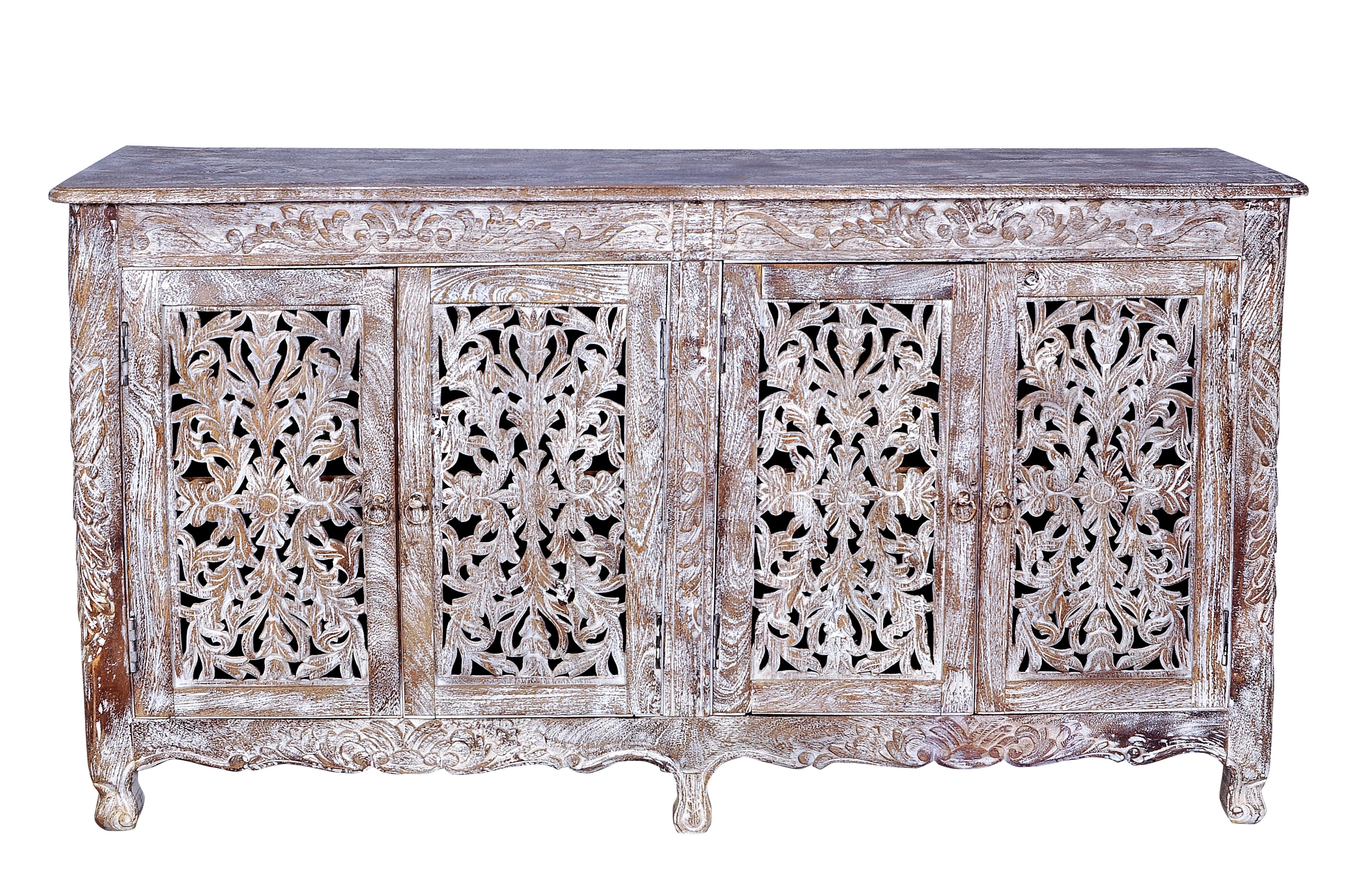 Bungalow Rose Aveliss Carved 4 Door Antique Whitewash Sideboard throughout Carved 4 Door Metal Frame Sideboards (Image 13 of 30)