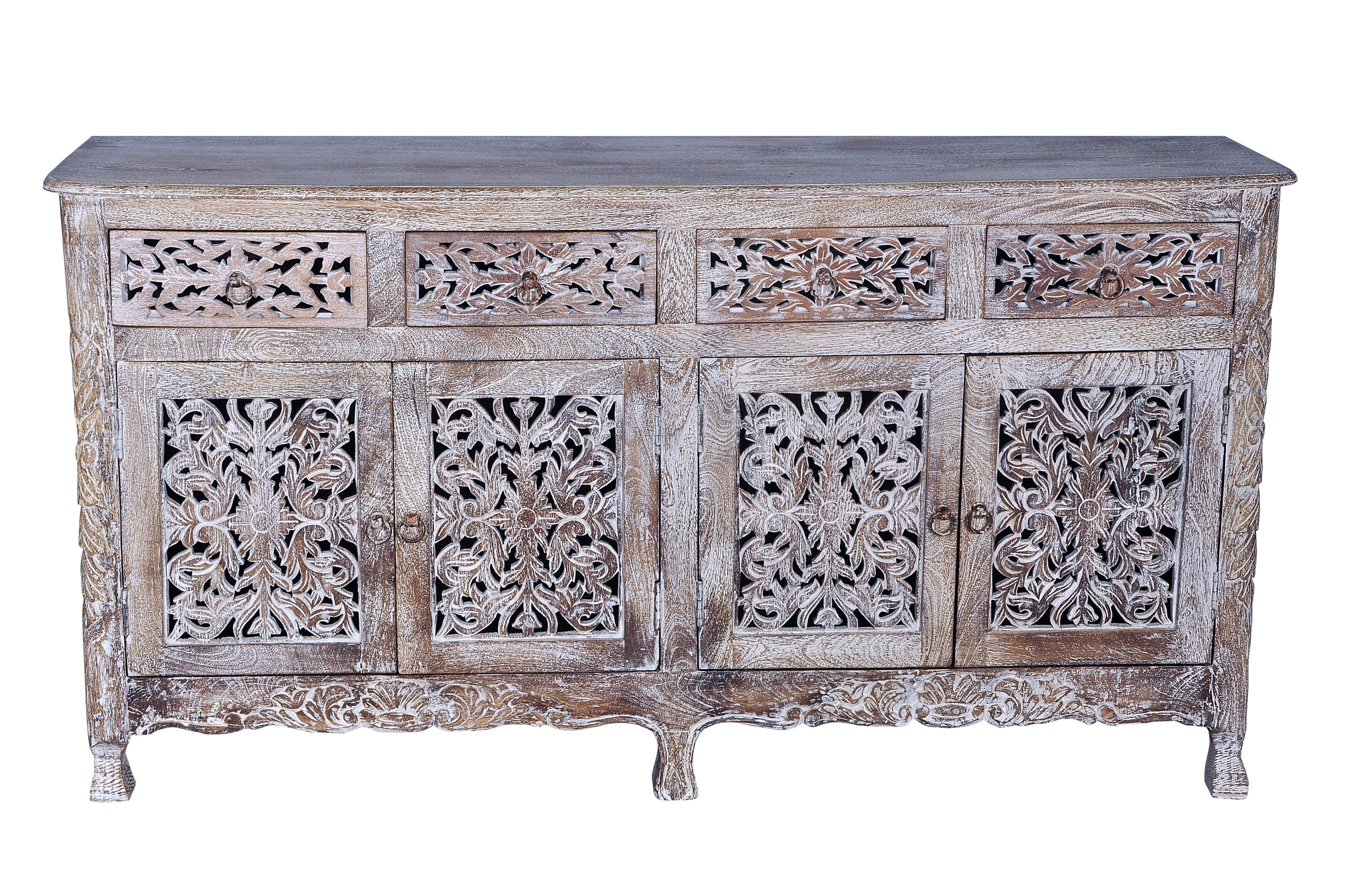Bungalow Rose Aveliss Carved 4 Door Hand Carved Sideboard | Wayfair With Regard To Mango Wood Grey 4 Drawer 4 Door Sideboards (View 25 of 30)