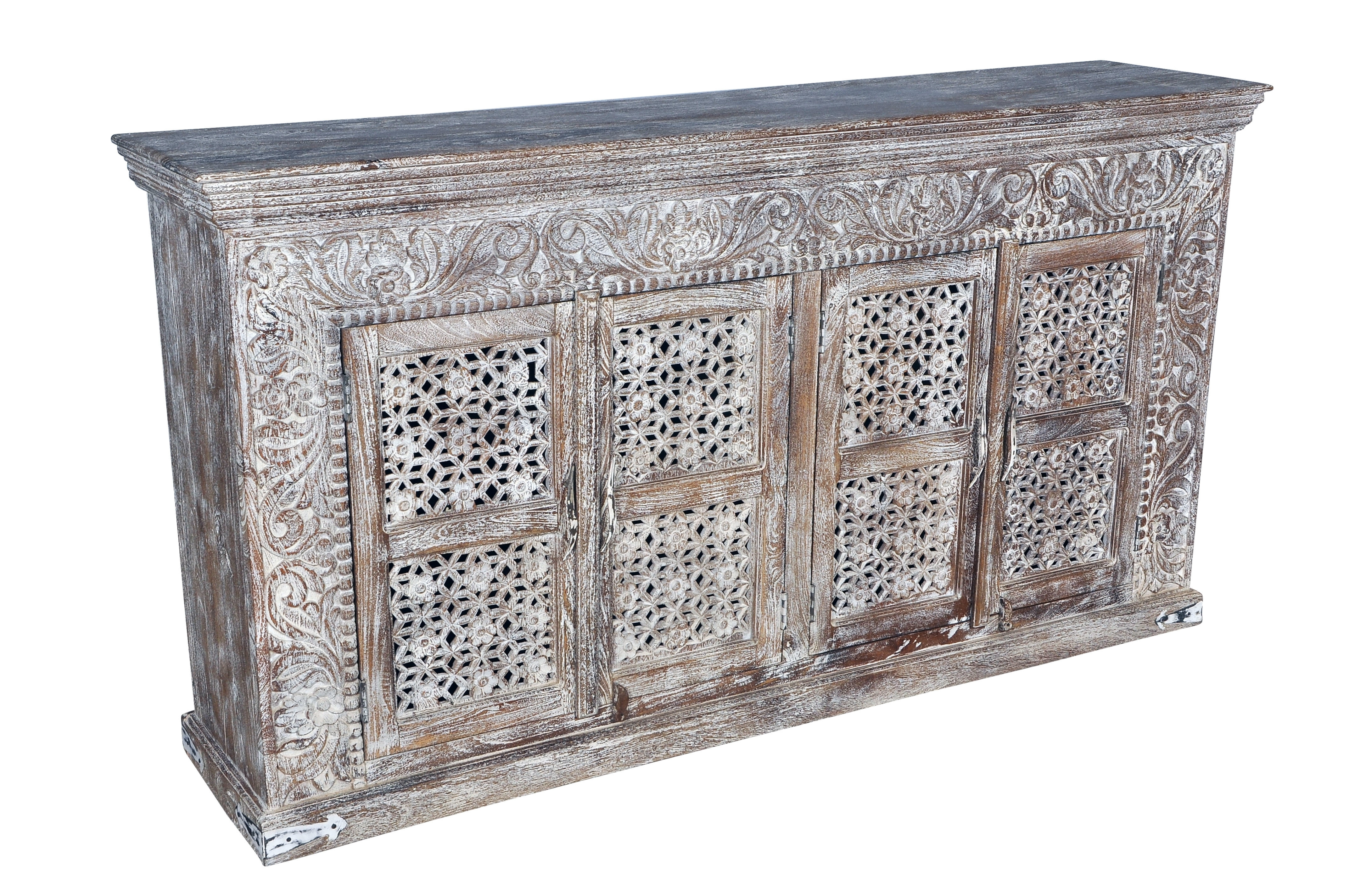 Featured Photo of Carved 4 Door Metal Frame Sideboards