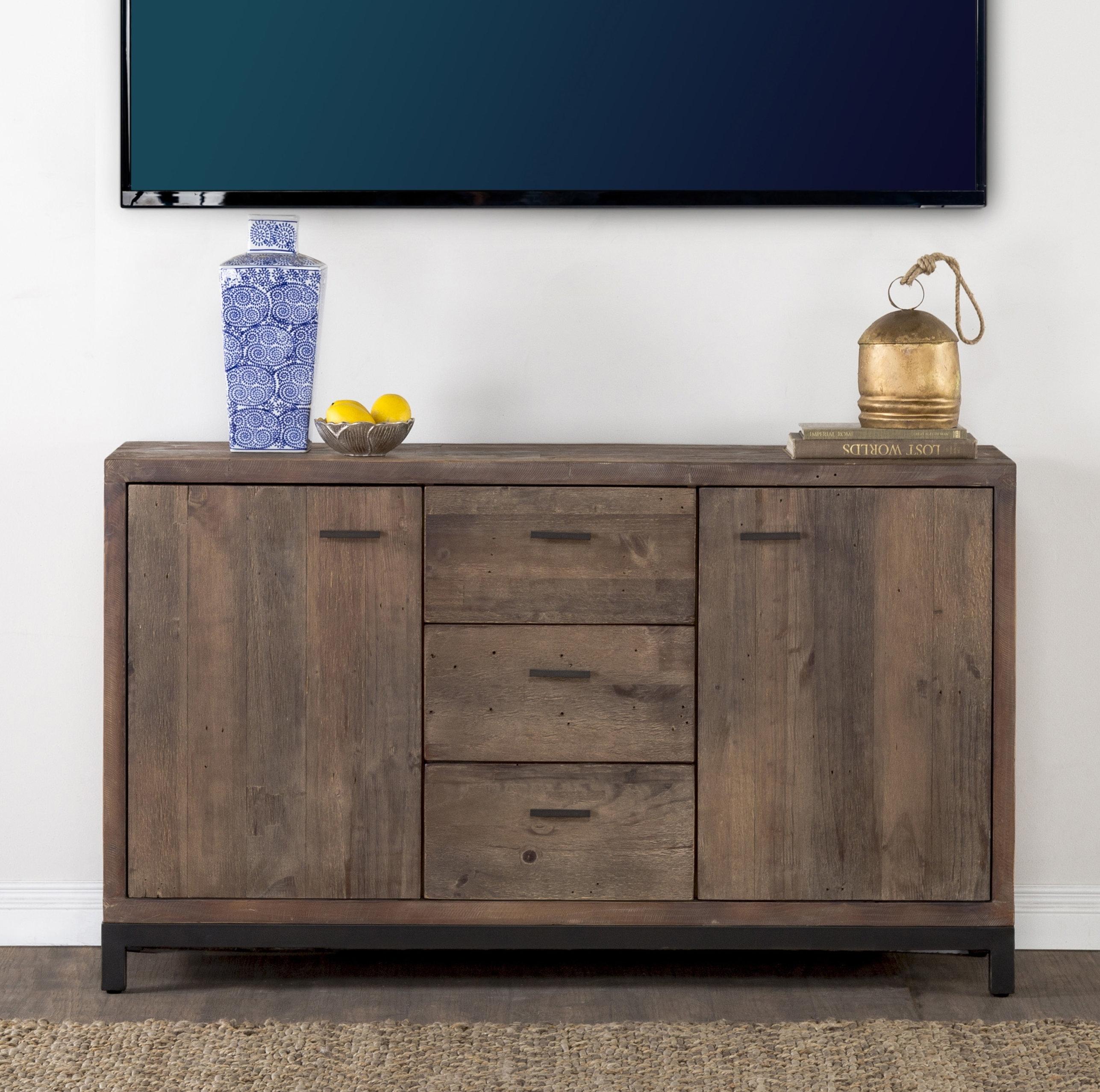 Bungalow Rose Gael Reclaimed Pine 3 Drawer 2 Door Sideboard | Wayfair.ca with regard to Reclaimed Pine 4-Door Sideboards (Image 10 of 30)