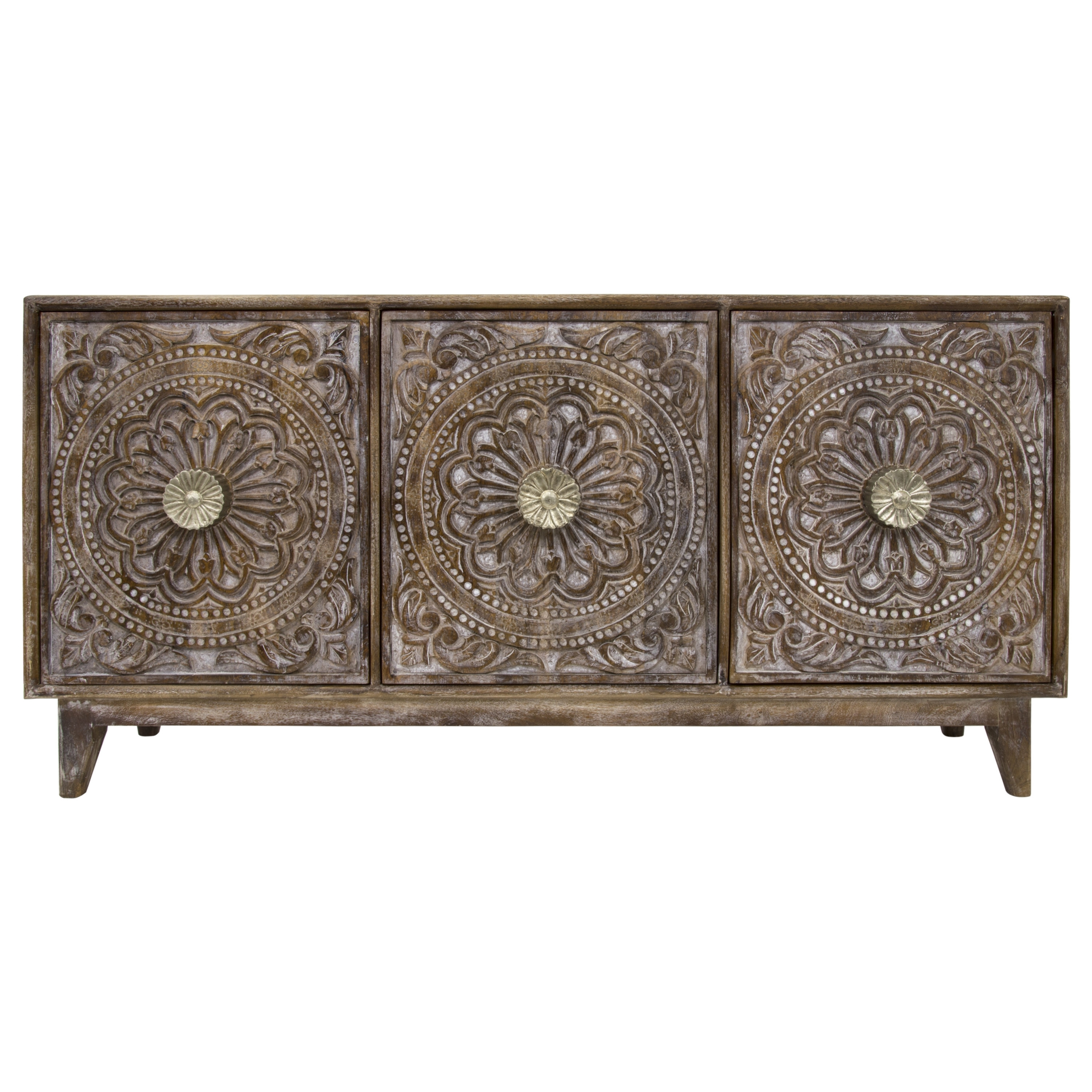 Bungalow Rose Rausch Hand Carved 3 Door Accent Chest | Wayfair within Carved 4 Door Metal Frame Sideboards (Image 16 of 30)