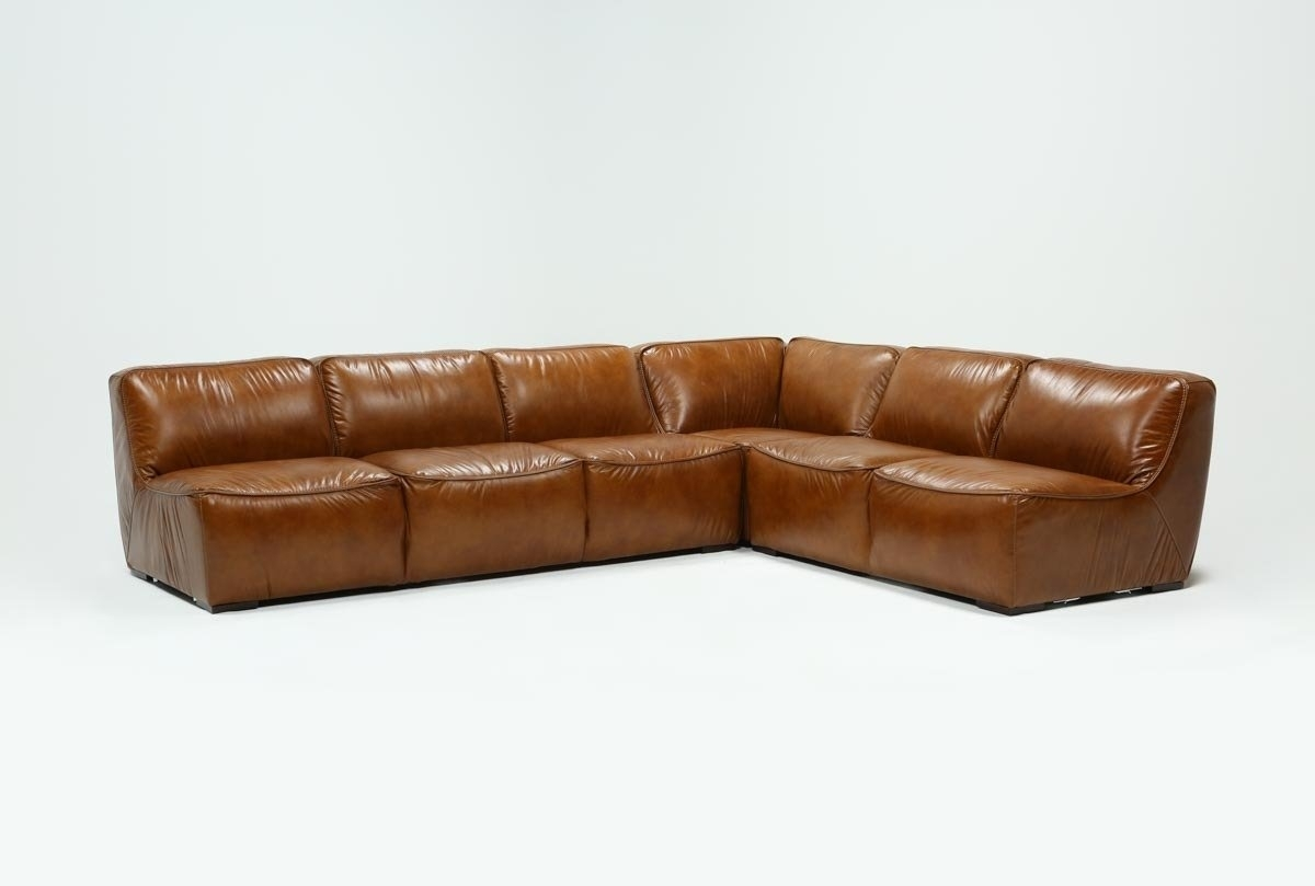 Burton Leather 3 Piece Sectional | Living Spaces regarding Tenny Cognac 2 Piece Right Facing Chaise Sectionals With 2 Headrest (Image 4 of 30)