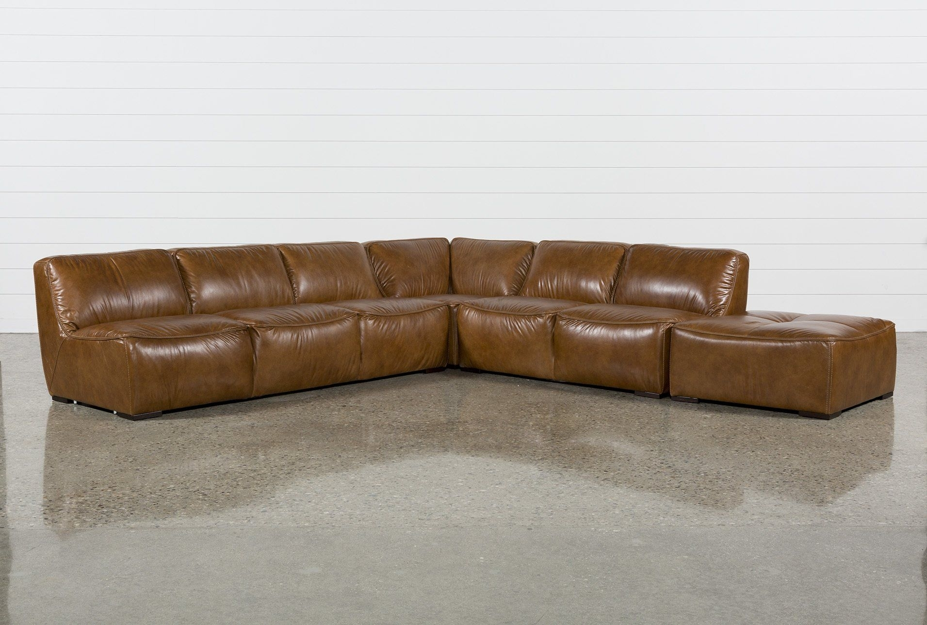 Burton Leather 3 Piece Sectional W/ottoman | Products throughout Burton Leather 3 Piece Sectionals With Ottoman (Image 4 of 30)