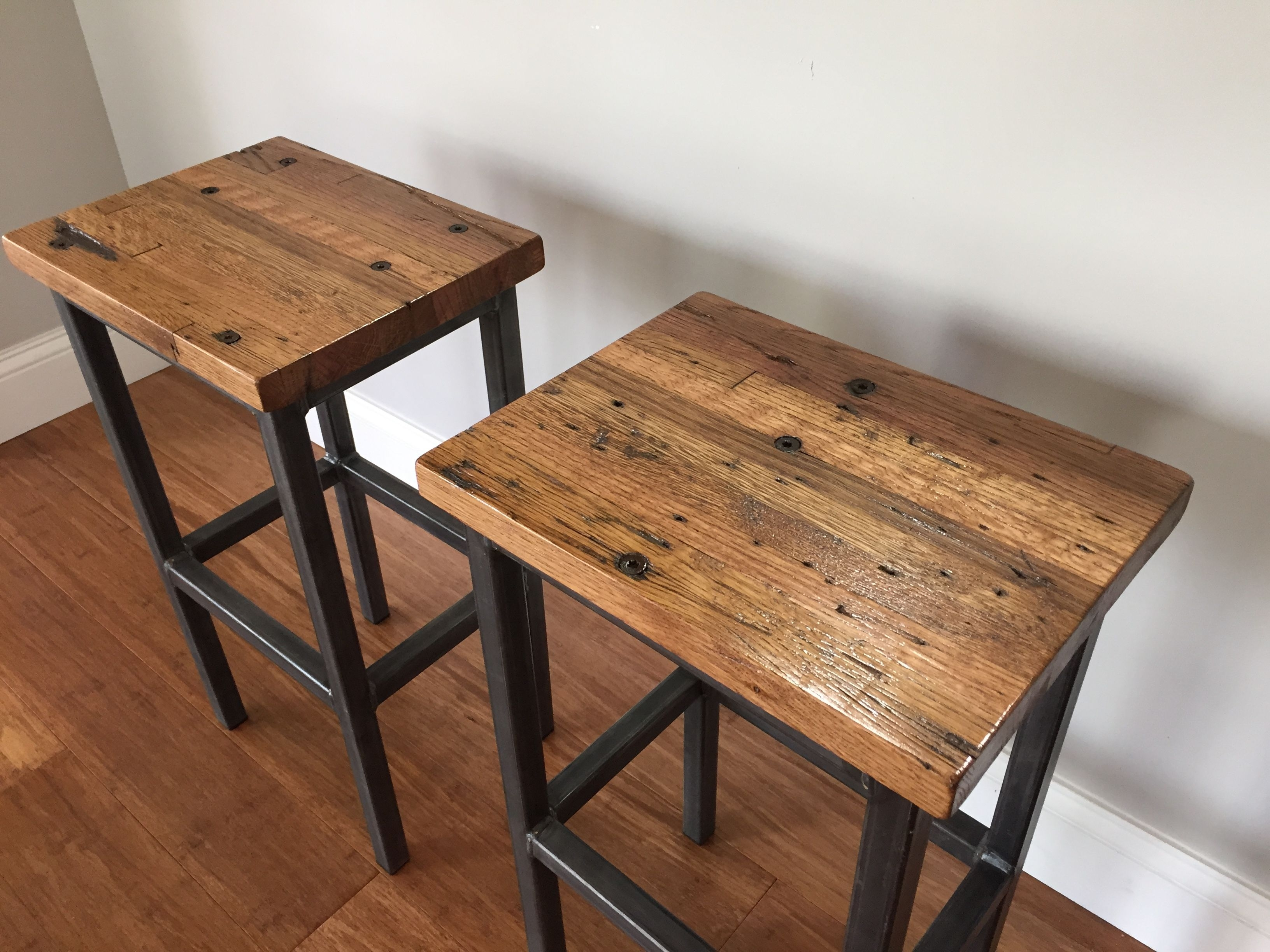 Buy A Hand Crafted Reclaimed Oak Wood Bar Stools W/steel Frames in Metal Framed Reclaimed Wood Sideboards (Image 6 of 30)