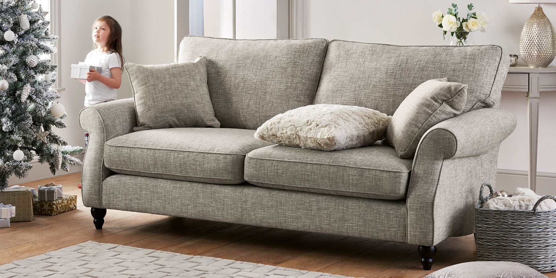 Buy Ashford Corner Chaise - Right Hand (4 Seats) Tweedy Blend Light with Declan 3 Piece Power Reclining Sectionals With Left Facing Console Loveseat (Image 7 of 30)