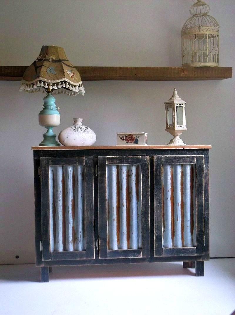 Buy Hand Crafted Rustic Bar Cabinet With Reclaimed Corrugated Metal intended for Reclaimed Sideboards With Metal Panel (Image 3 of 30)