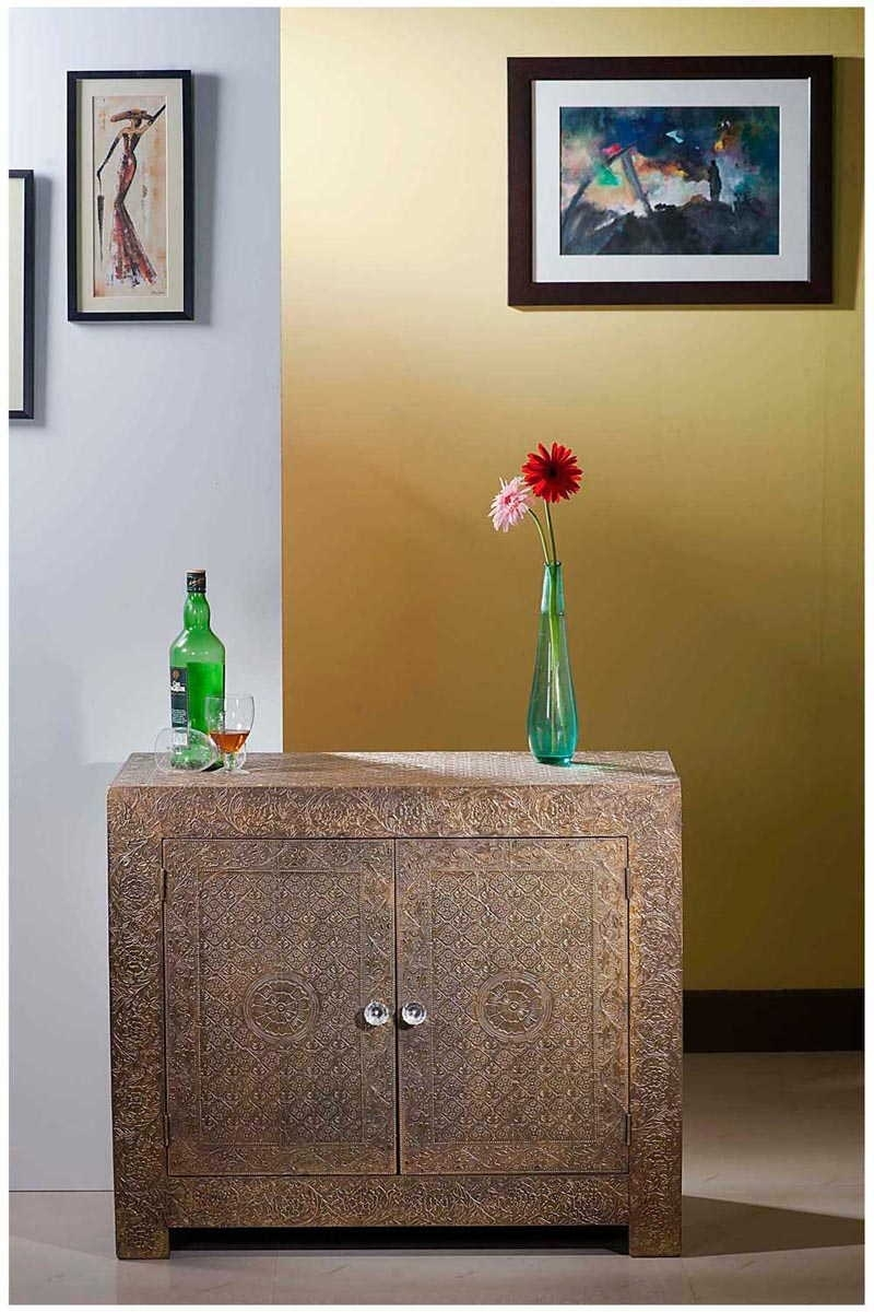 Buy Online-Brass Embossed Metal Two Door Chest Of Drawer-Sideboard for Carved 4 Door Metal Frame Sideboards (Image 17 of 30)