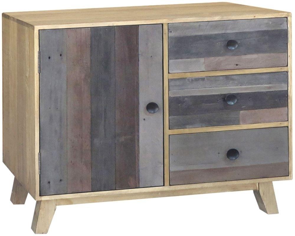 Buy Sorrento Reclaimed Pine 1 Door 3 Drawer Narrow Sideboard Online regarding Reclaimed Pine 4-Door Sideboards (Image 11 of 30)