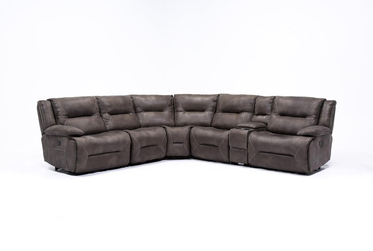 Calder Grey 6 Piece Power Reclining Sectional | Living Spaces within Calder Grey 6 Piece Manual Reclining Sectionals (Image 4 of 30)