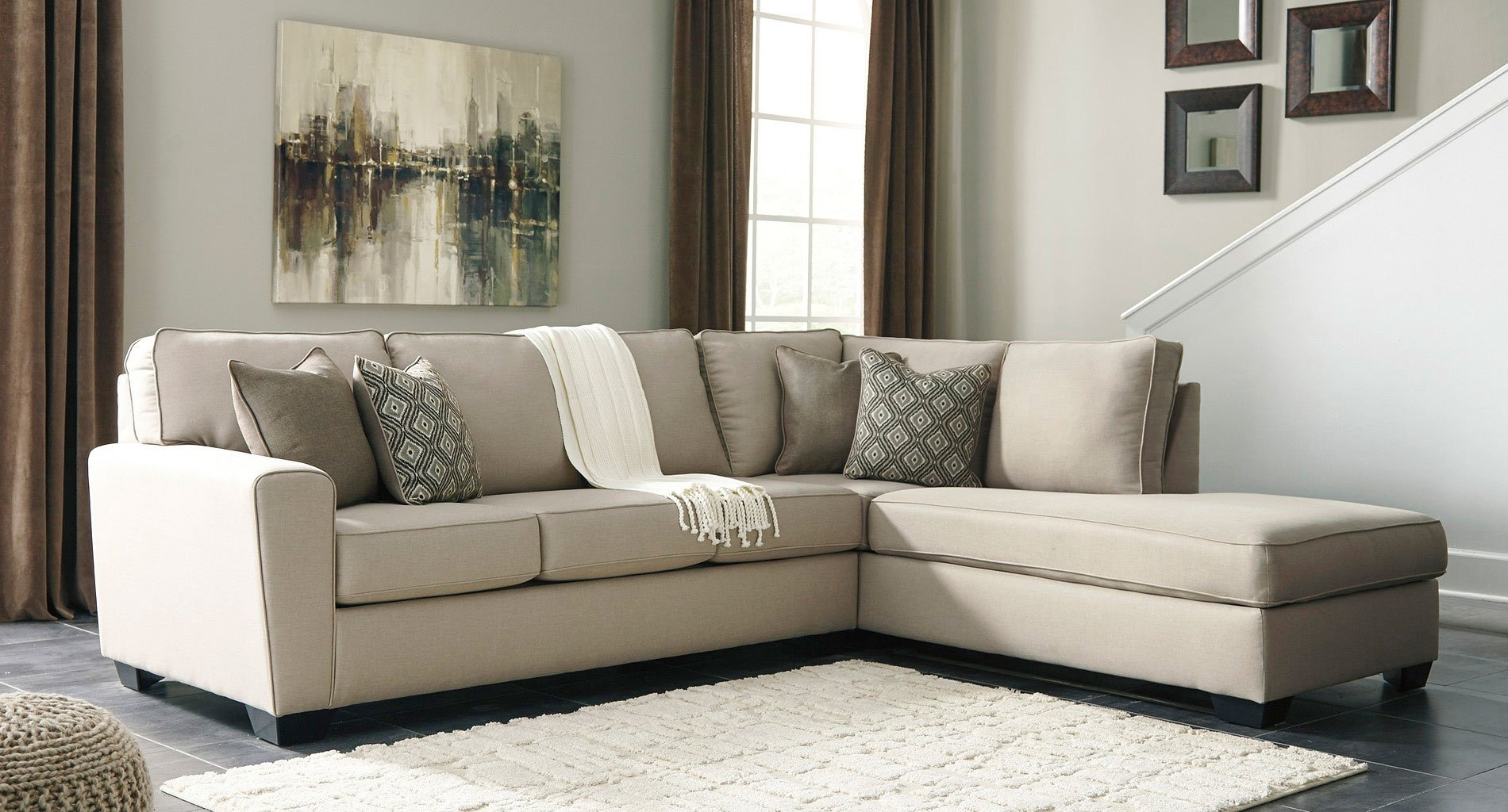 Calicho Ecru Right Chaise Sectional - Living Room Furniture - Living throughout Cosmos Grey 2 Piece Sectionals With Raf Chaise (Image 5 of 30)