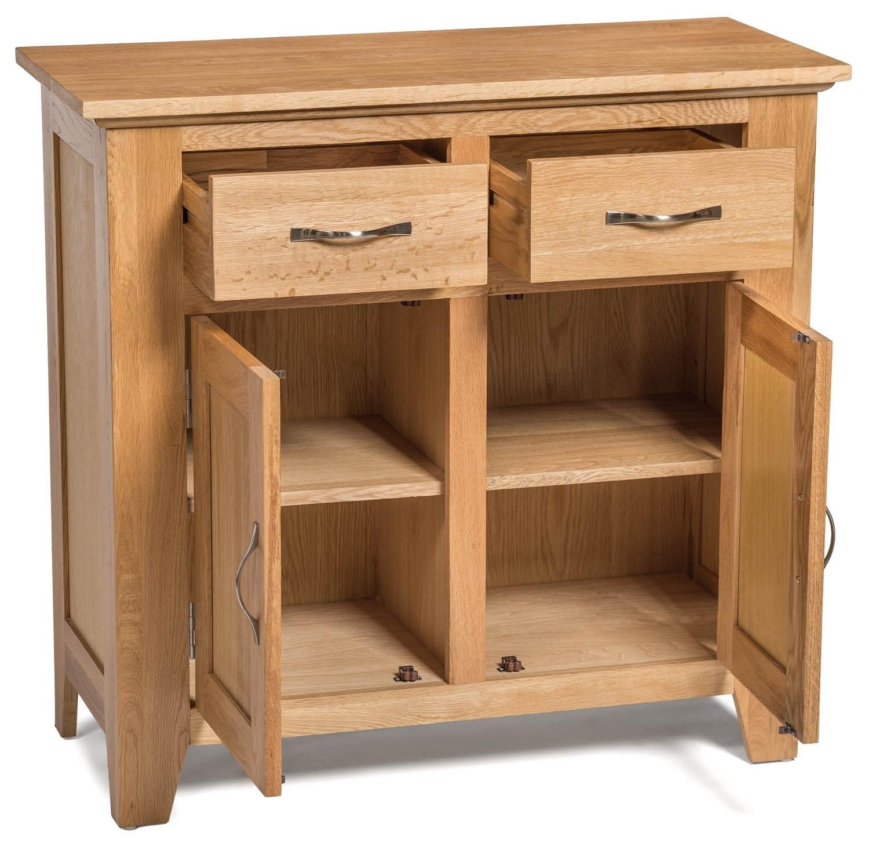 Camberley Oak Small 2 Door 2 Drawer Sideboard - Sideboards & Tops for 2-Drawer Sideboards (Image 6 of 30)