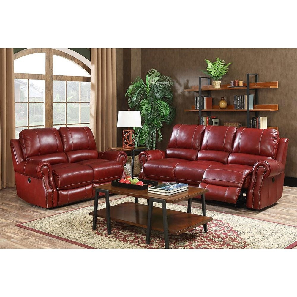 Cambridge Rustic 2-Piece Wine Sofa And Loveseat Living Room Set with Waylon 3 Piece Power Reclining Sectionals (Image 6 of 30)