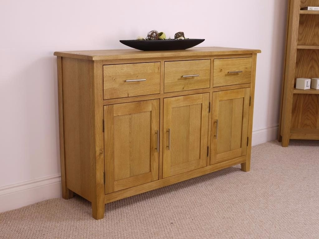 Canada Oak 3 Doors 3 Drawer Sideboard - Sideboards - Furniture World inside Tobias 4 Door Sideboards (Image 3 of 30)
