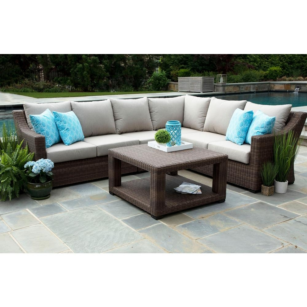 Canopy Alder 5-Piece Resin Wicker Outdoor Sectional With Sunbrella in Alder 4 Piece Sectionals (Image 10 of 30)