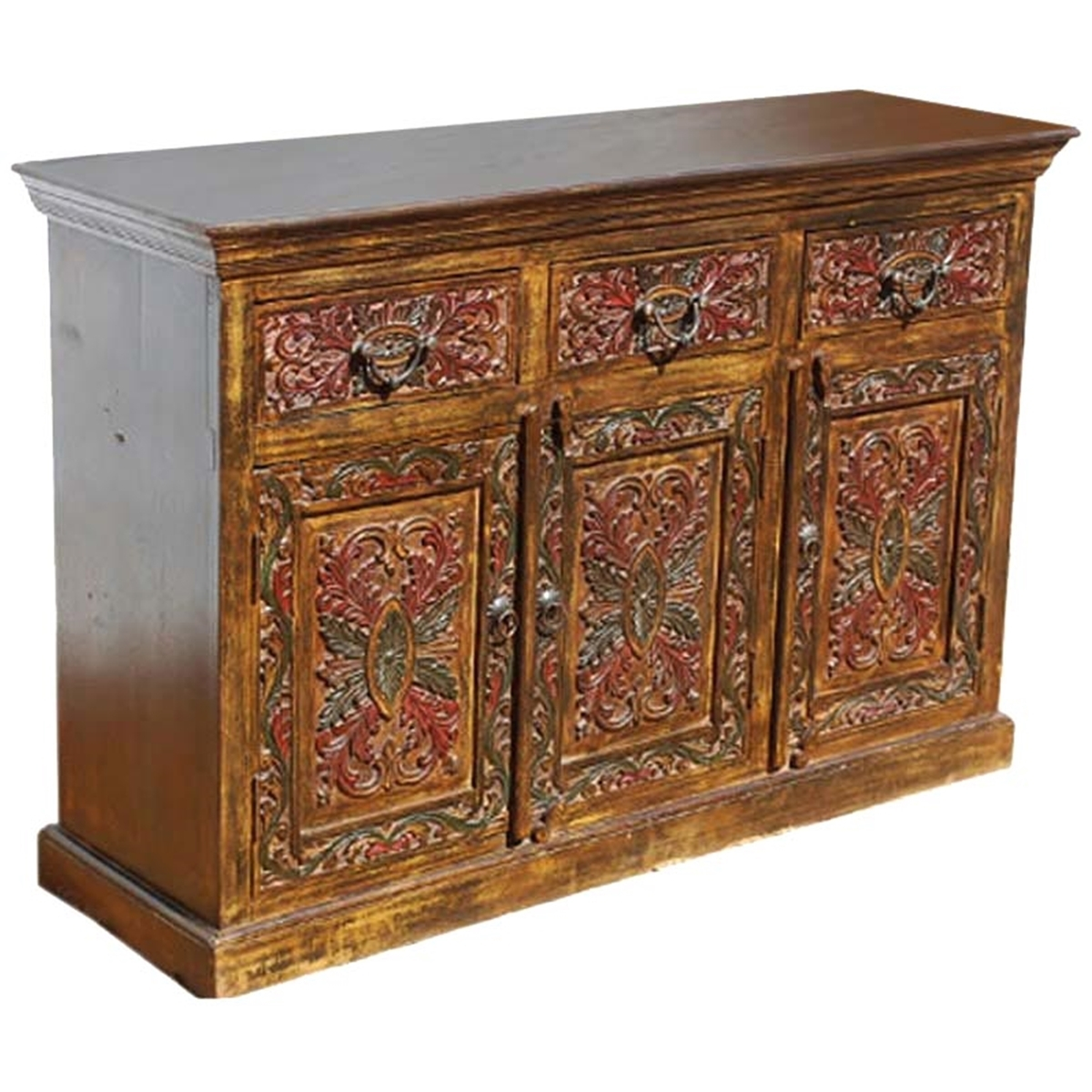 Canterbury Handcarved Solid Wood 3 Drawer Sideboard pertaining to Starburst 3 Door Sideboards (Image 5 of 30)