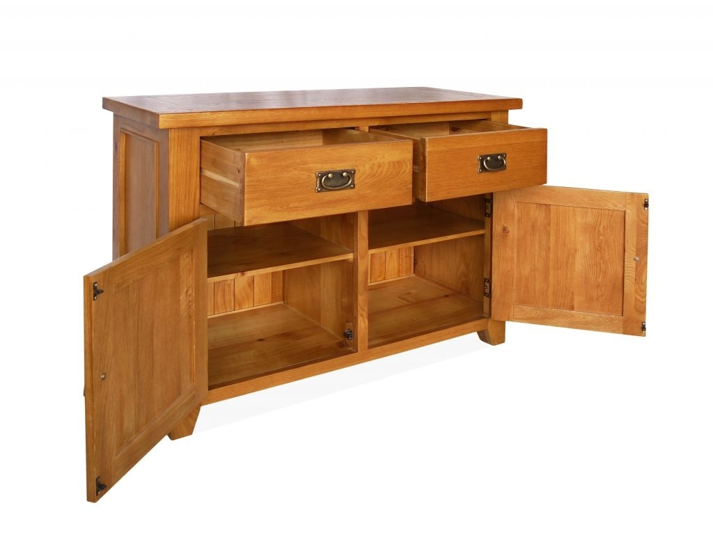 Canterbury Oak Small Sideboard With 2 Doors And 2 Drawers inside 2-Drawer Sideboards (Image 9 of 30)
