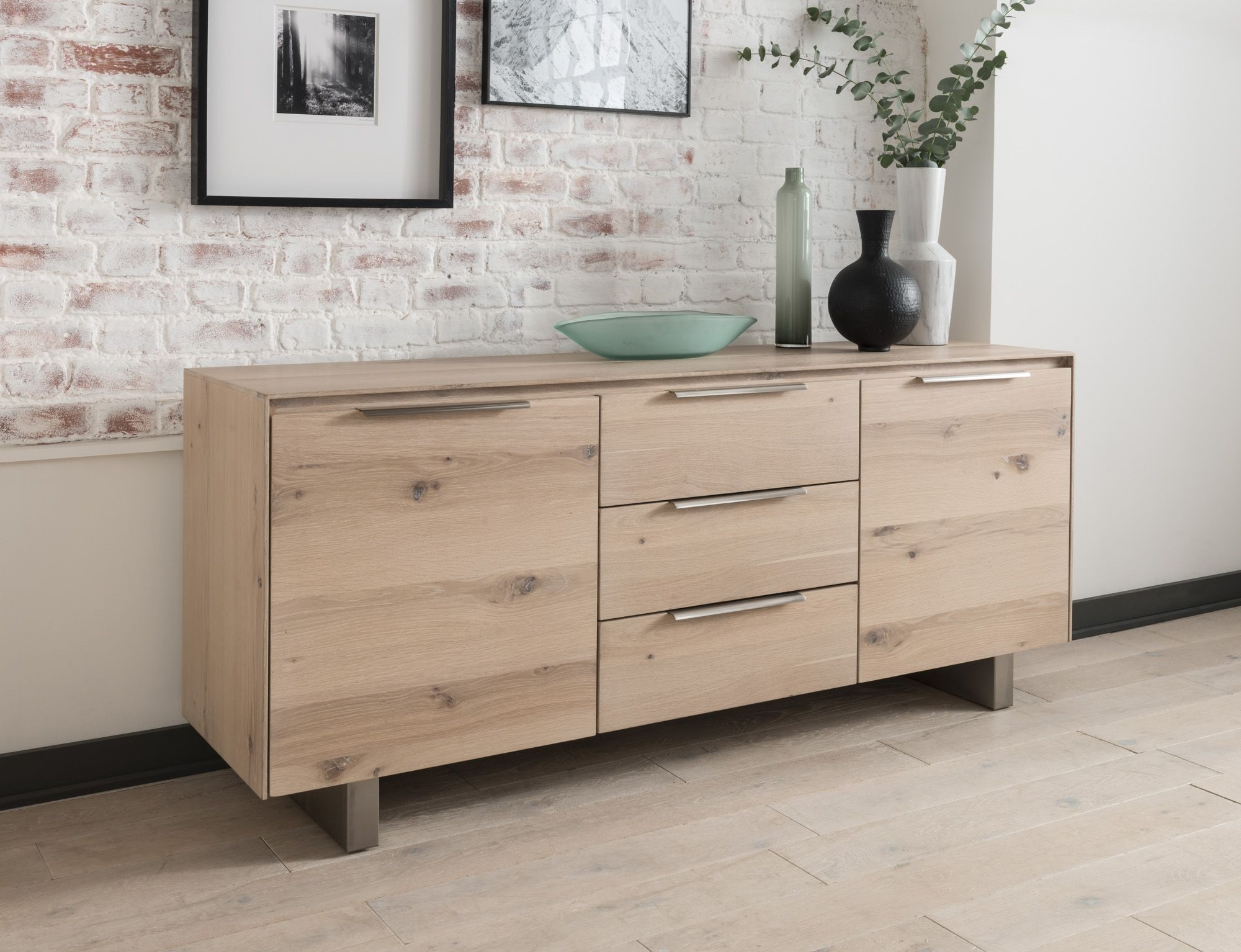Capua White Washed Oak Sideboard 18Vd175 Within 3 Drawer/2 Door White Wash Sideboards (View 5 of 30)