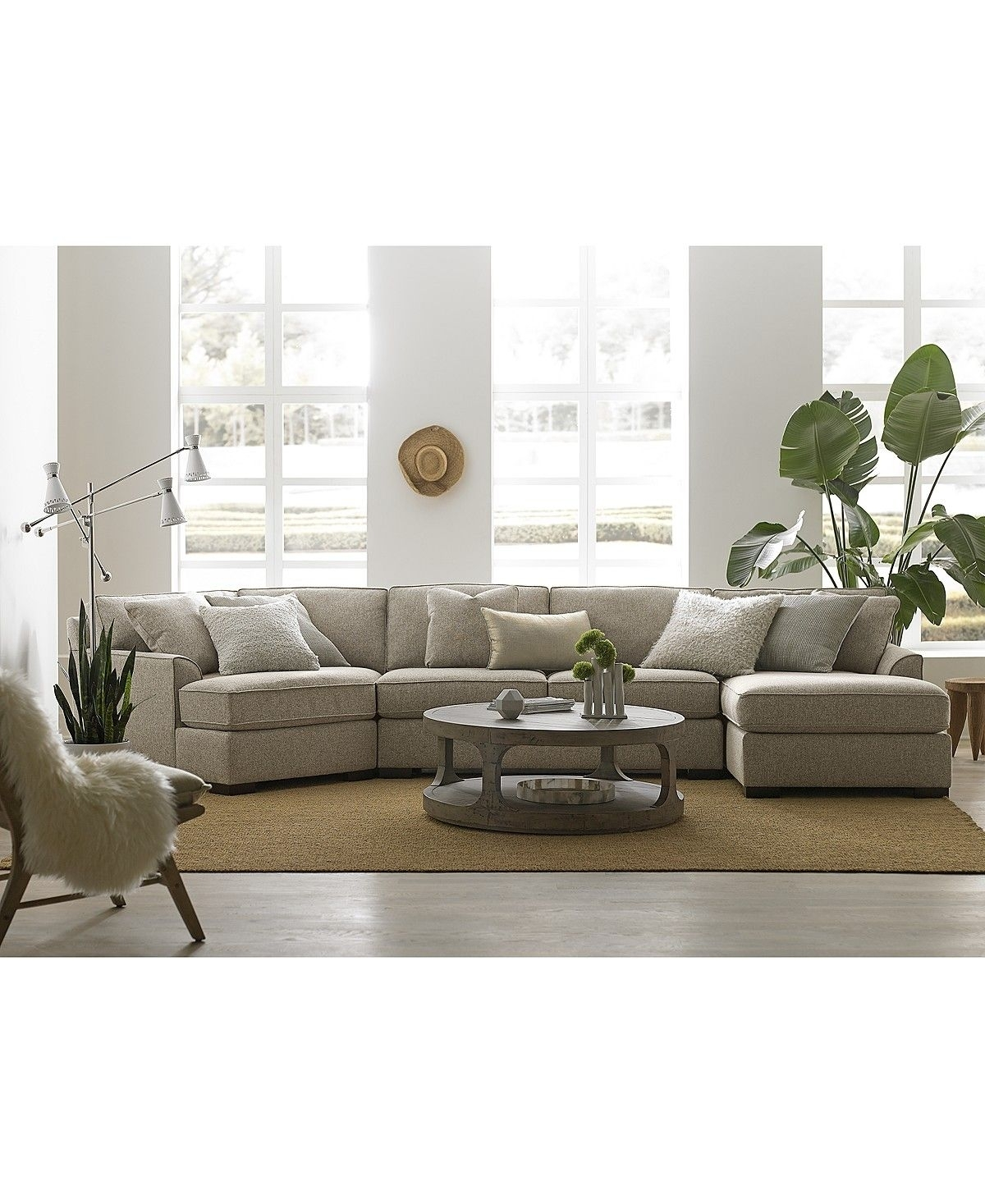 Carena 3-Pc. Fabric Sectional With Cuddler Chaise, Created For inside Burton Leather 3 Piece Sectionals (Image 4 of 30)