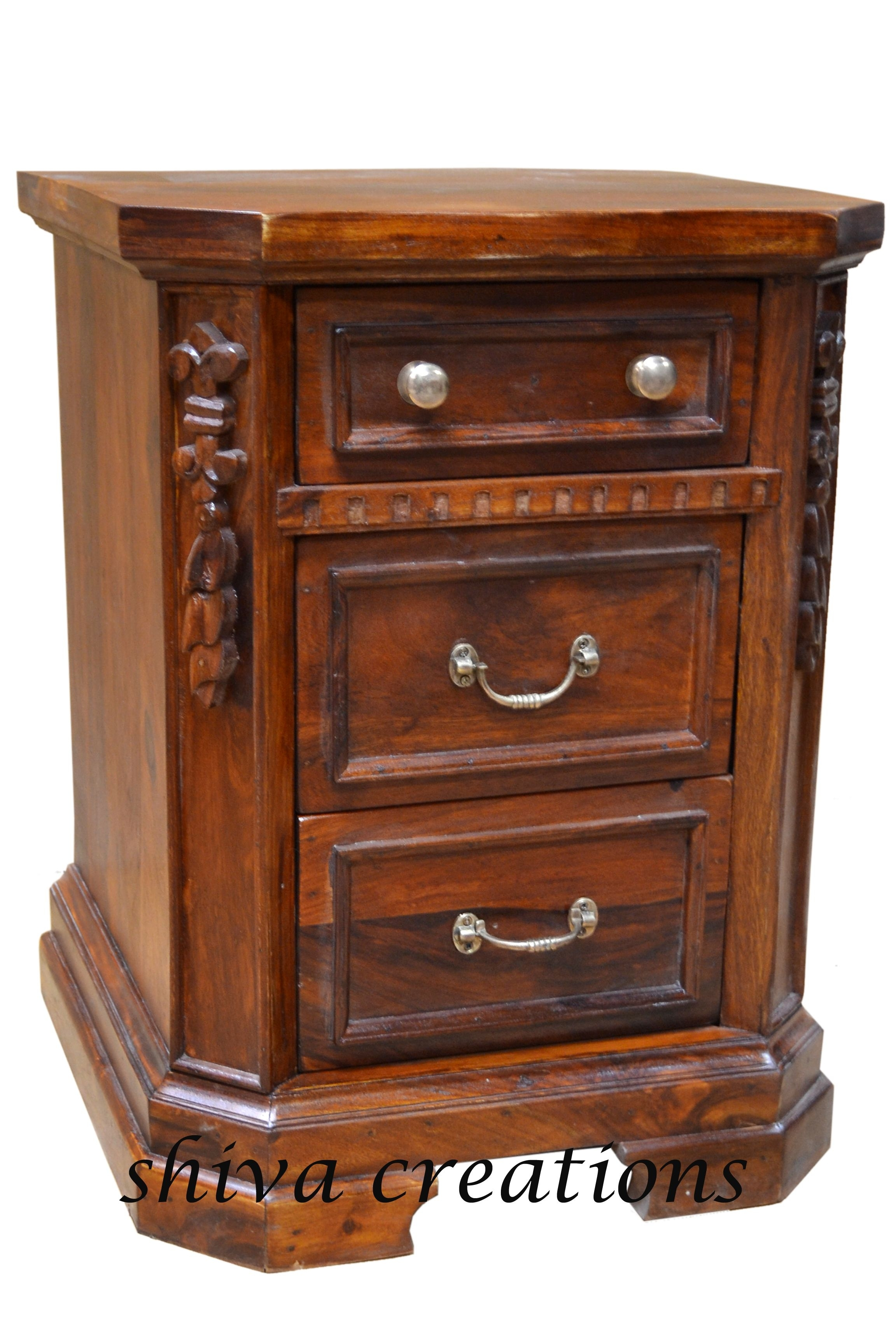 Carved Sheesham Wood Bedside Jodhpur. | Sheesham Wood Furniture with Mandara 3-Drawer 2-Door Sideboards (Image 8 of 30)