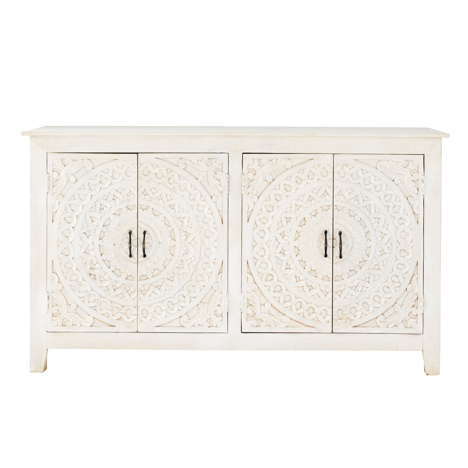 Carved White Solid Mango Wood 4 Door Sideboard | Maisons Du Monde With Carved 4 Door Metal Frame Sideboards (View 19 of 30)