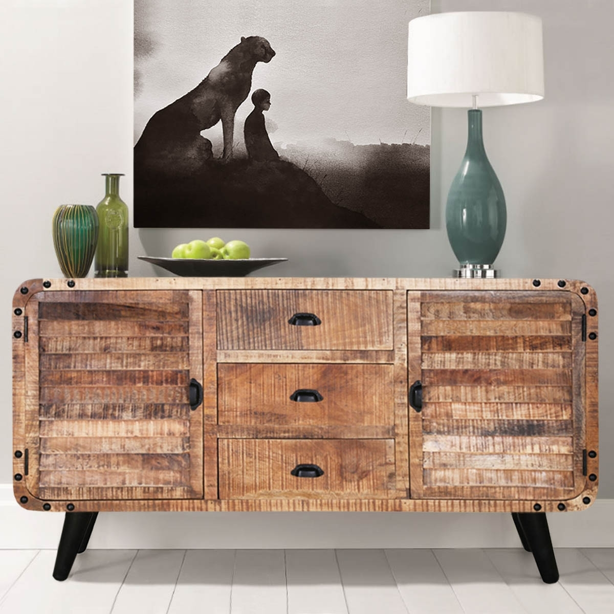 Castine Retro Rustic Mango Wood 3 Drawer Industrial Sideboard for Reclaimed 3 Drawer Icebox Sideboards (Image 5 of 30)