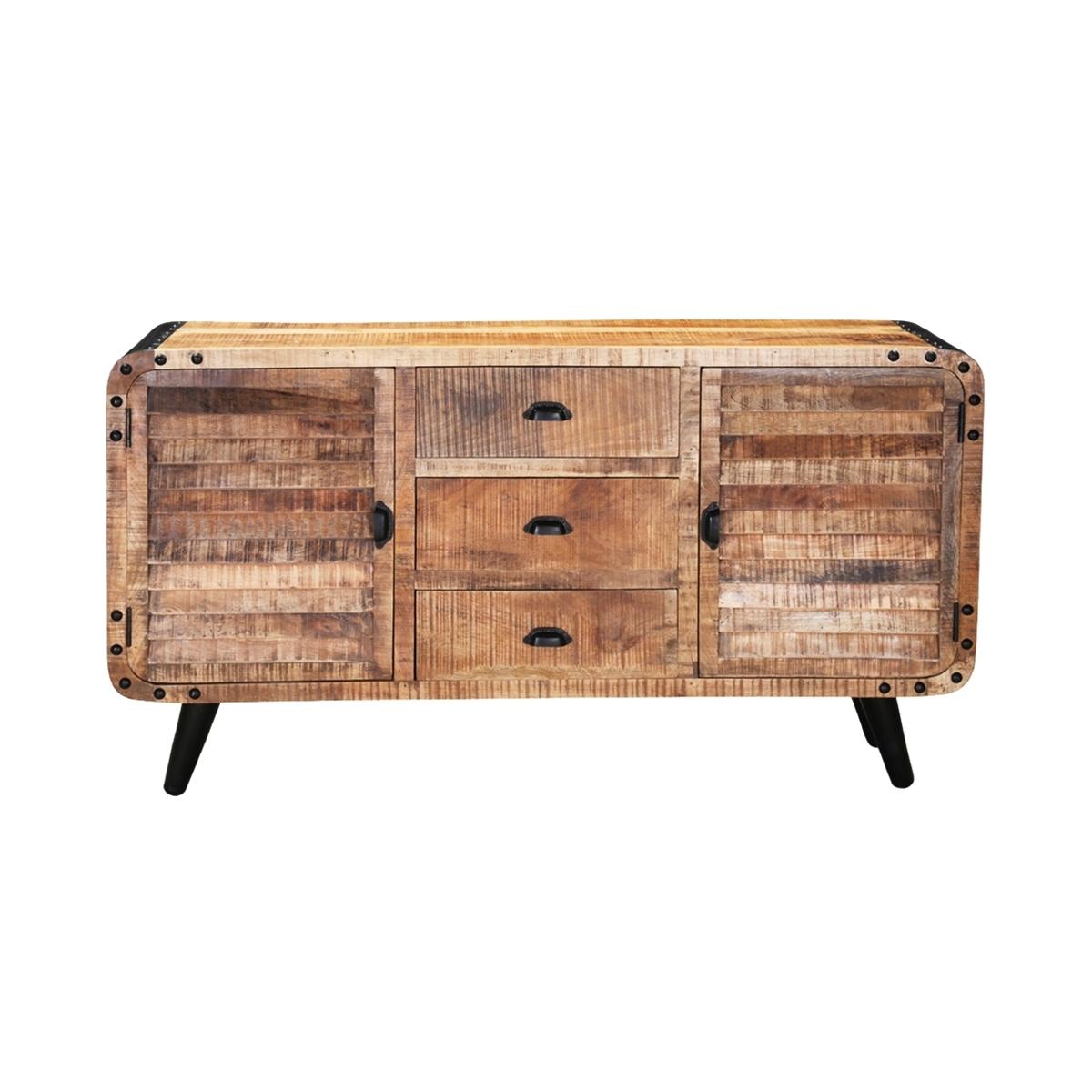 Castine Retro Rustic Mango Wood 3 Drawer Industrial Sideboard inside Reclaimed 3 Drawer Icebox Sideboards (Image 6 of 30)