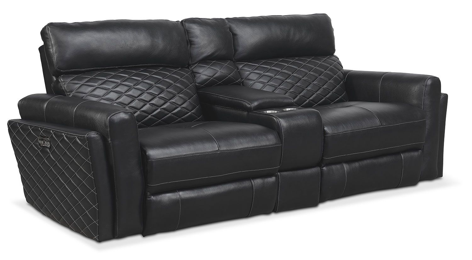 Catalina 3-Piece Power Reclining Sofa With Console - Black within Marcus Grey 6 Piece Sectionals With  Power Headrest & Usb (Image 9 of 30)