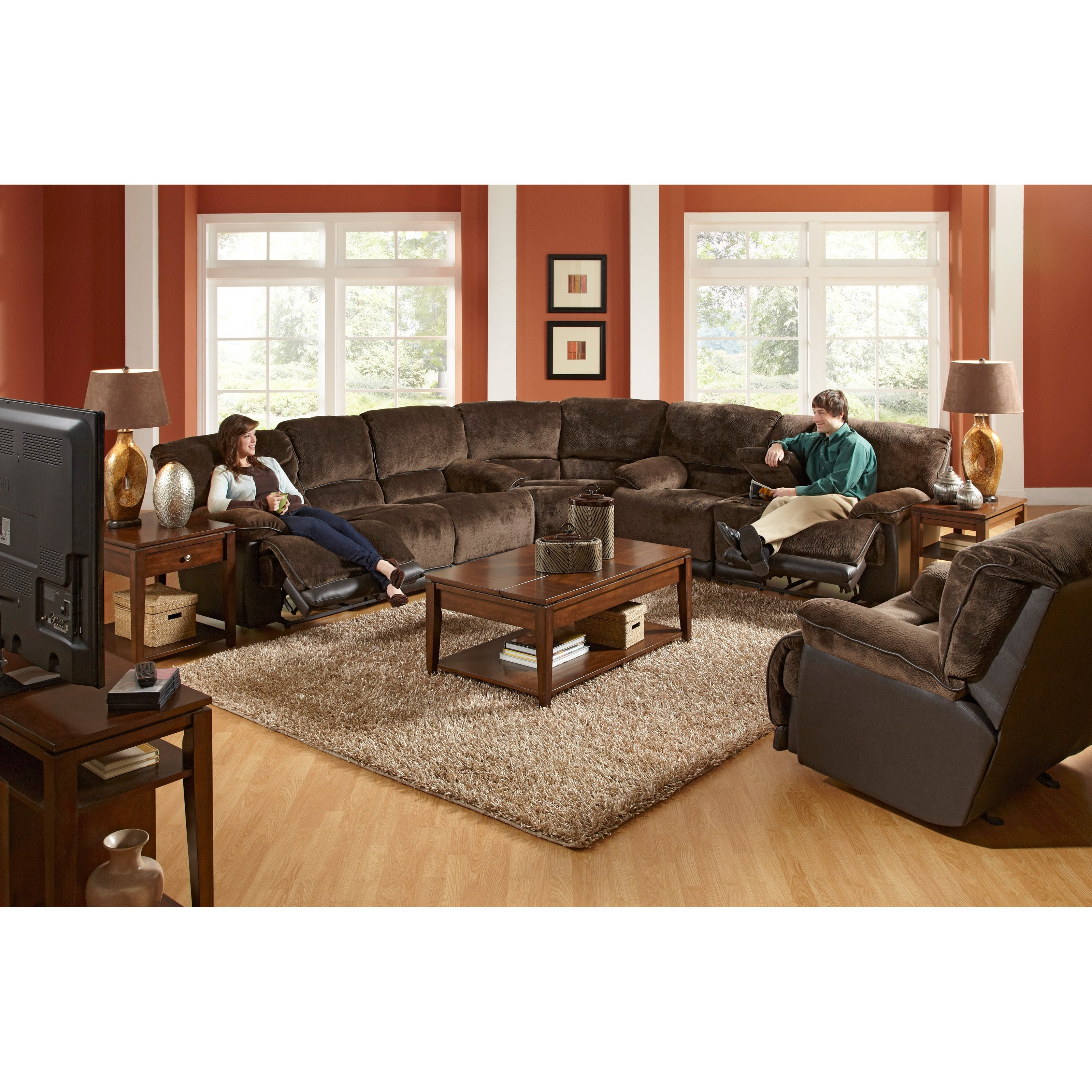 Catnapper Escalade Reclining Sectional - Chocolate - Walmart with regard to Jackson 6 Piece Power Reclining Sectionals (Image 8 of 30)