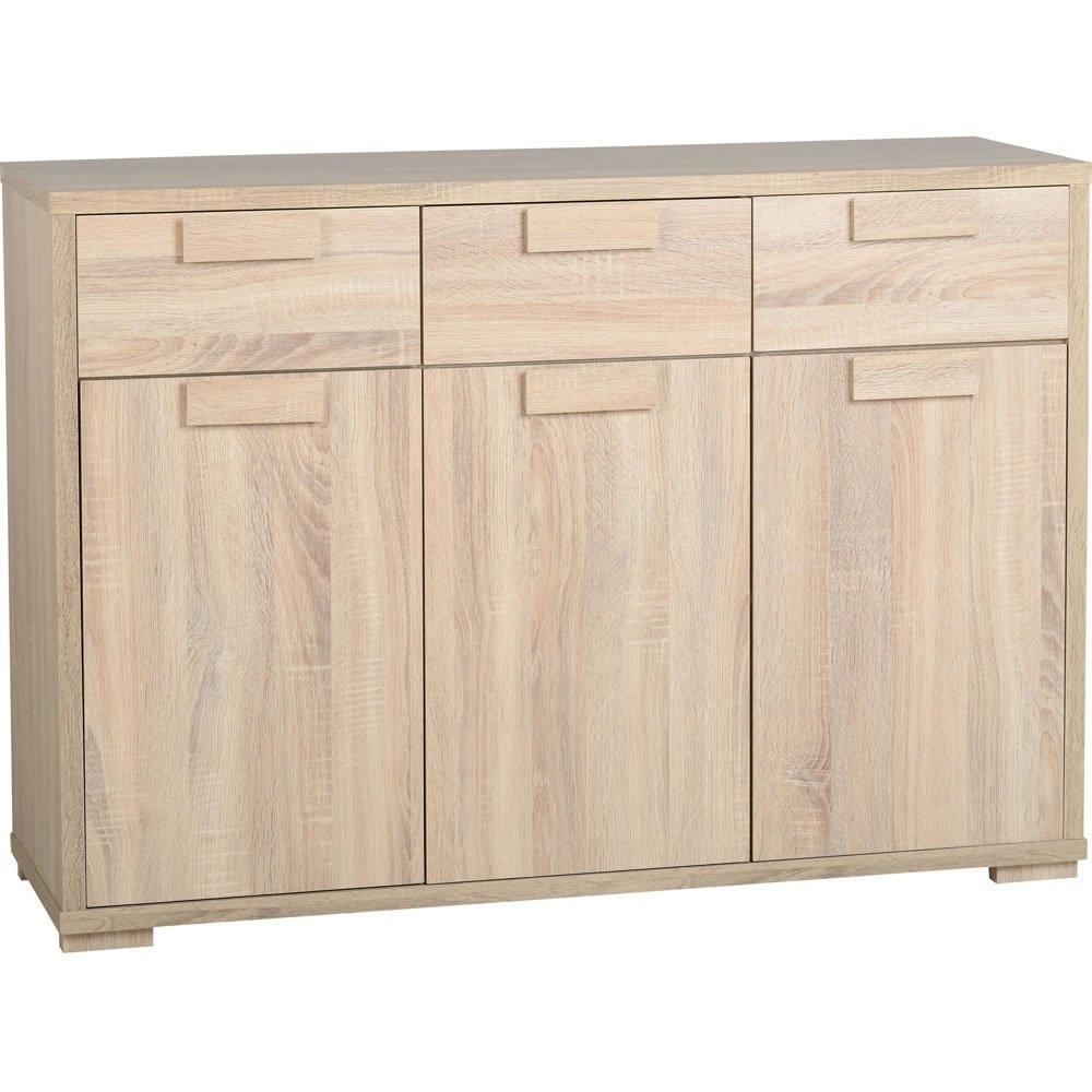 Caxton 3 Door 3 Drawer Sideboard Oak Effect | Wilko intended for White Wash 3-Door 3-Drawer Sideboards (Image 4 of 30)