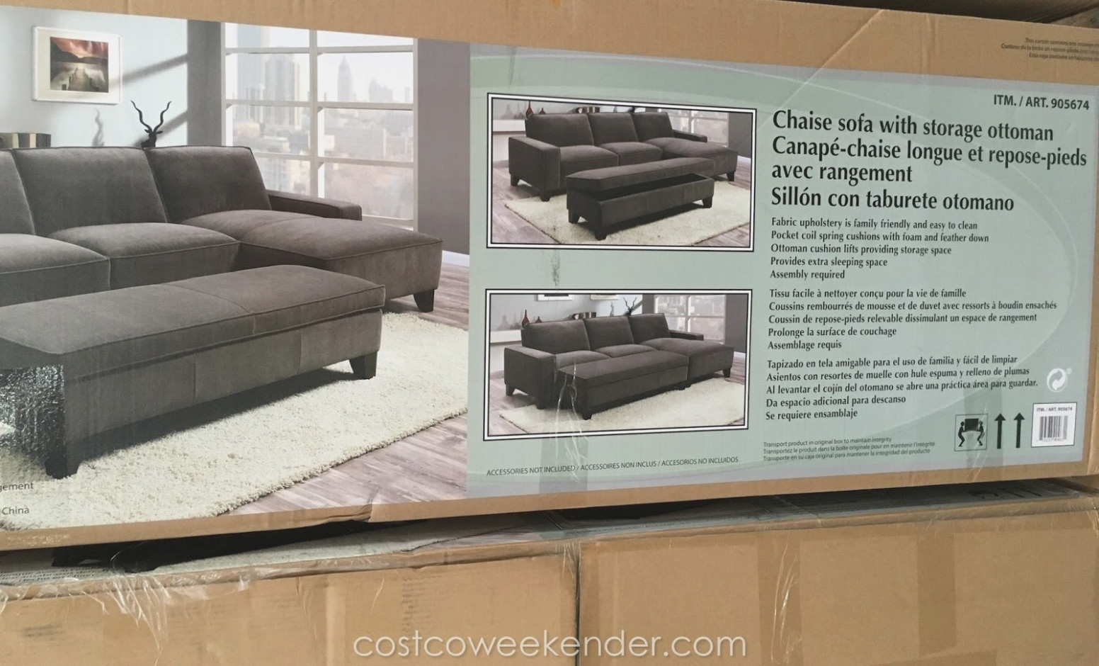 Chaise Sectional Sofa With Storage Ottoman | Costco Weekender pertaining to Taren Reversible Sofa/chaise Sleeper Sectionals With Storage Ottoman (Image 3 of 30)