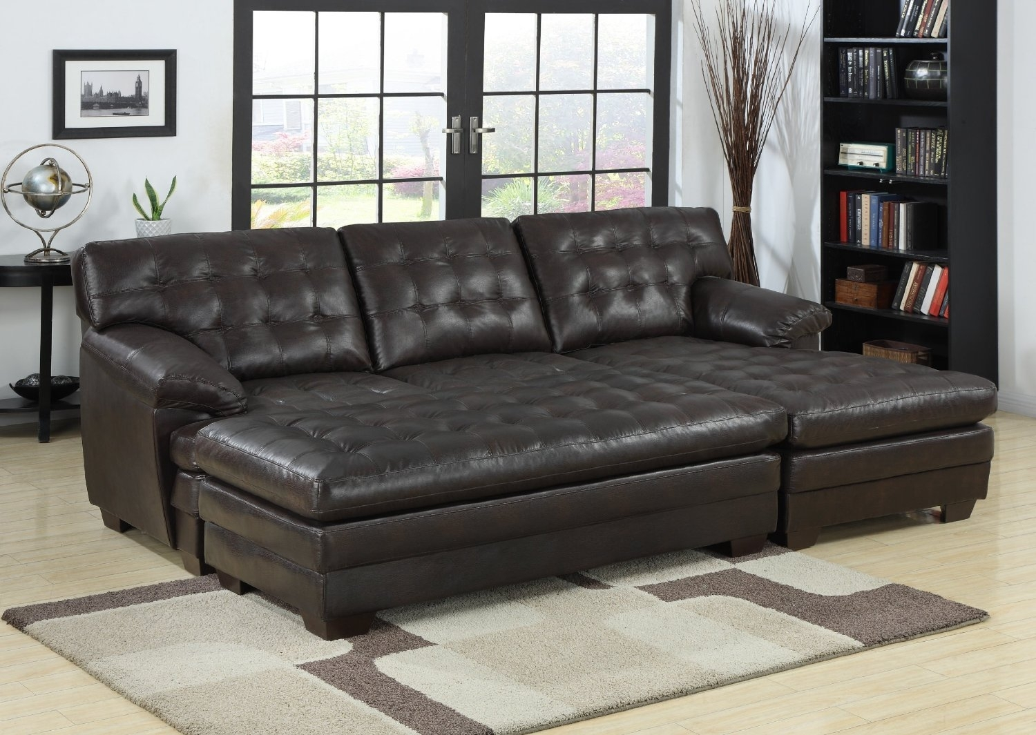 Chaise Sofa With Storage Ottoman | Baci Living Room intended for Taren Reversible Sofa/chaise Sleeper Sectionals With Storage Ottoman (Image 7 of 30)