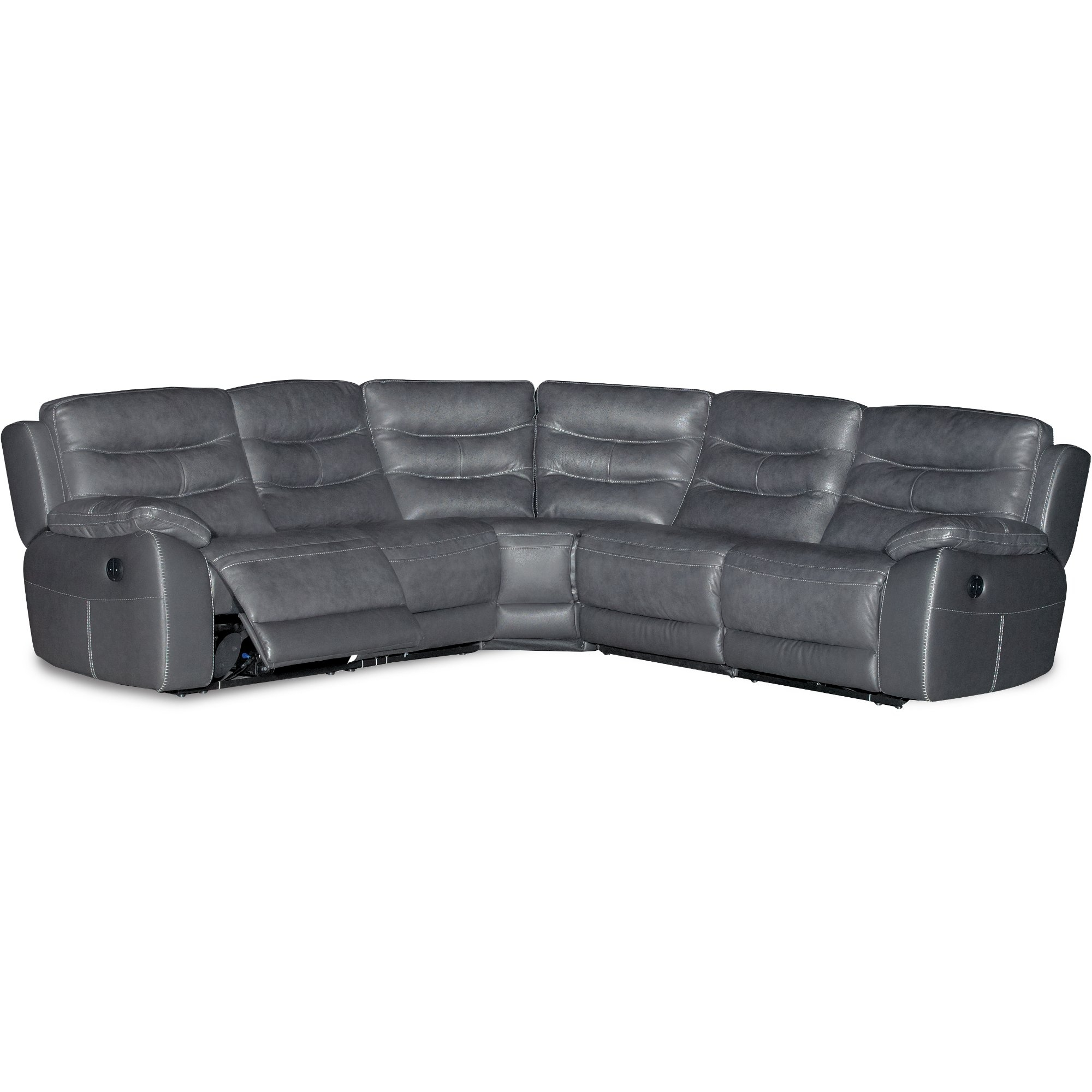 Charcoal Gray 5 Piece Power Reclining Sectional Sofa - Shawn | Rc throughout Denali Charcoal Grey 6 Piece Reclining Sectionals With 2 Power Headrests (Image 6 of 30)