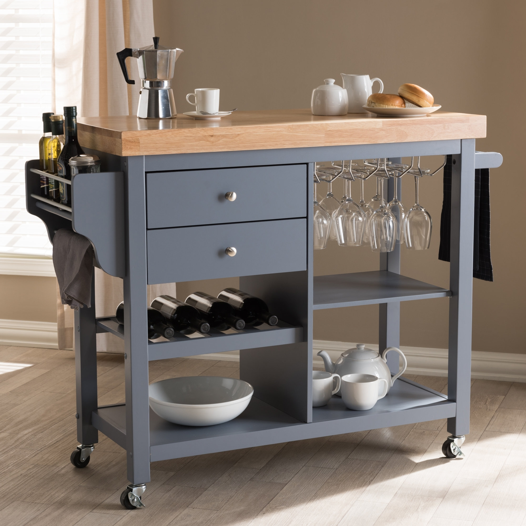Charlton Home Hoglund Kitchen Cart With Wood Top | Wayfair For Helms Sideboards (Photo 18 of 30)