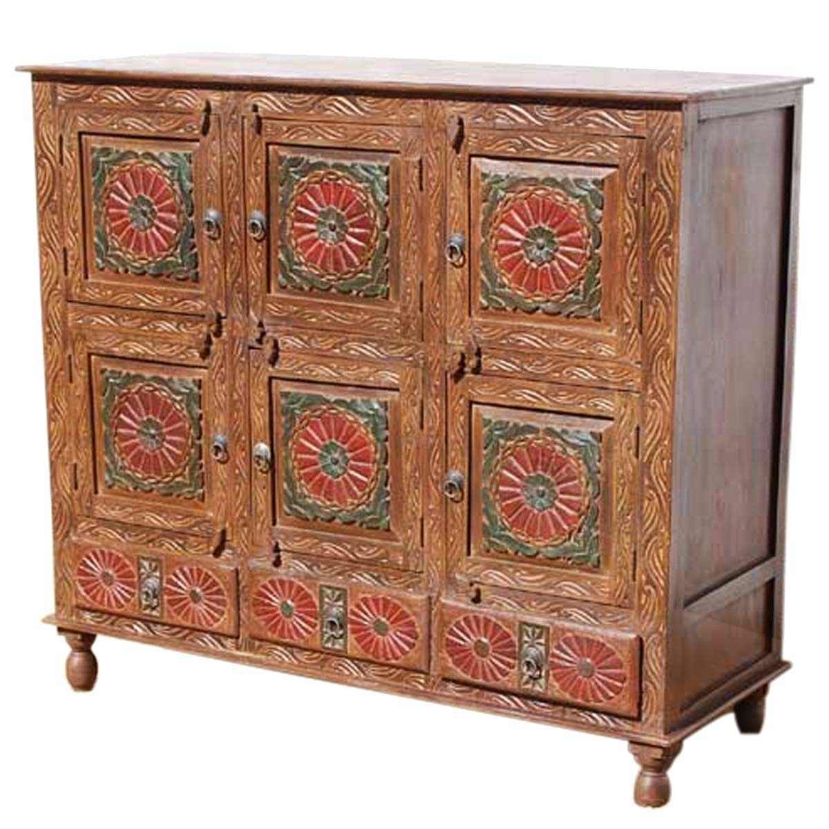 Chicago Red Poppy Handcarved 9 Compartment 3 Drawer Sideboard regarding Starburst 3 Door Sideboards (Image 6 of 30)